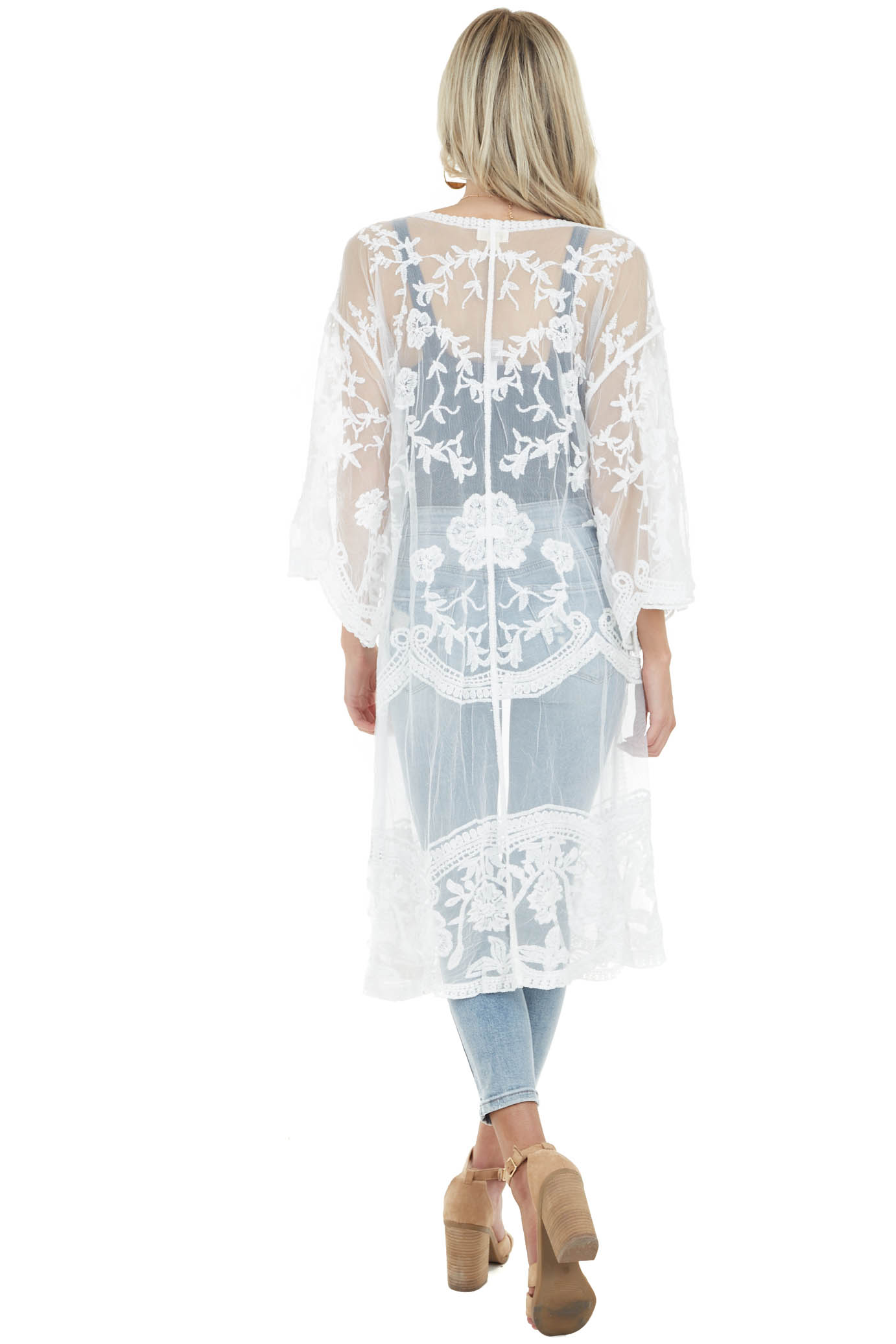 Off White Crochet Knit Floral Kimono with Short Sleeves