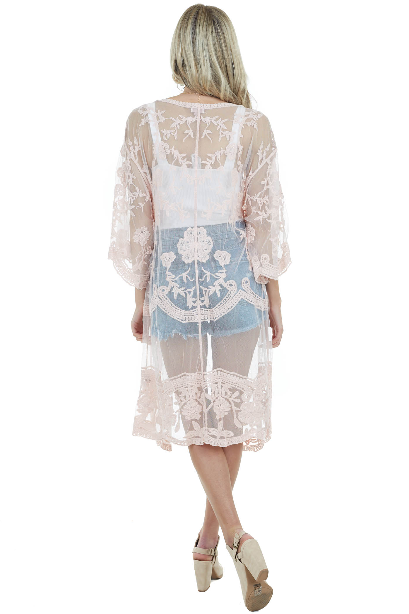 Dusty Peach Crochet Knit Floral Kimono with Short Sleeves