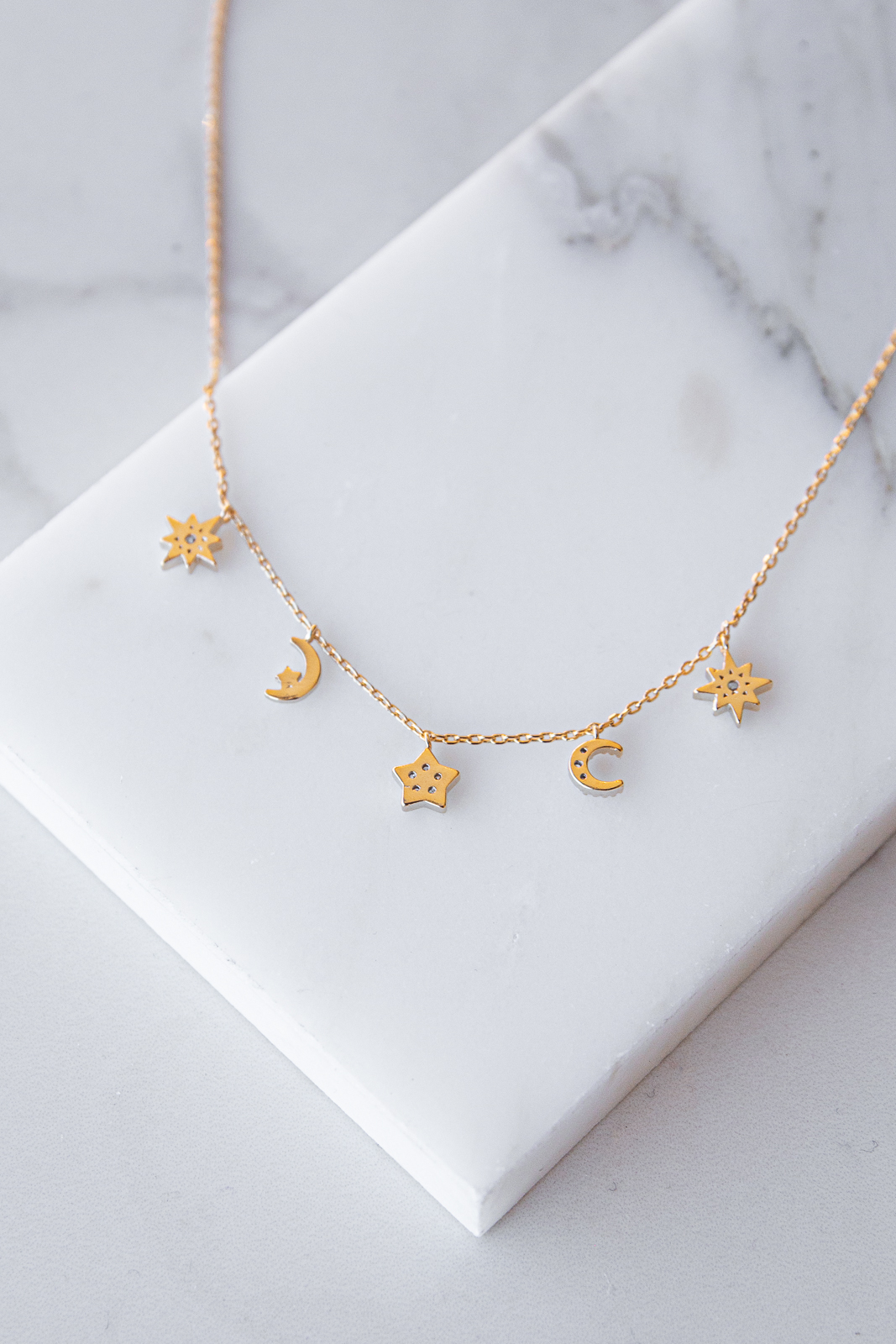 Gold Tiny Moon and Stars Charm Necklace with Dainty Chain