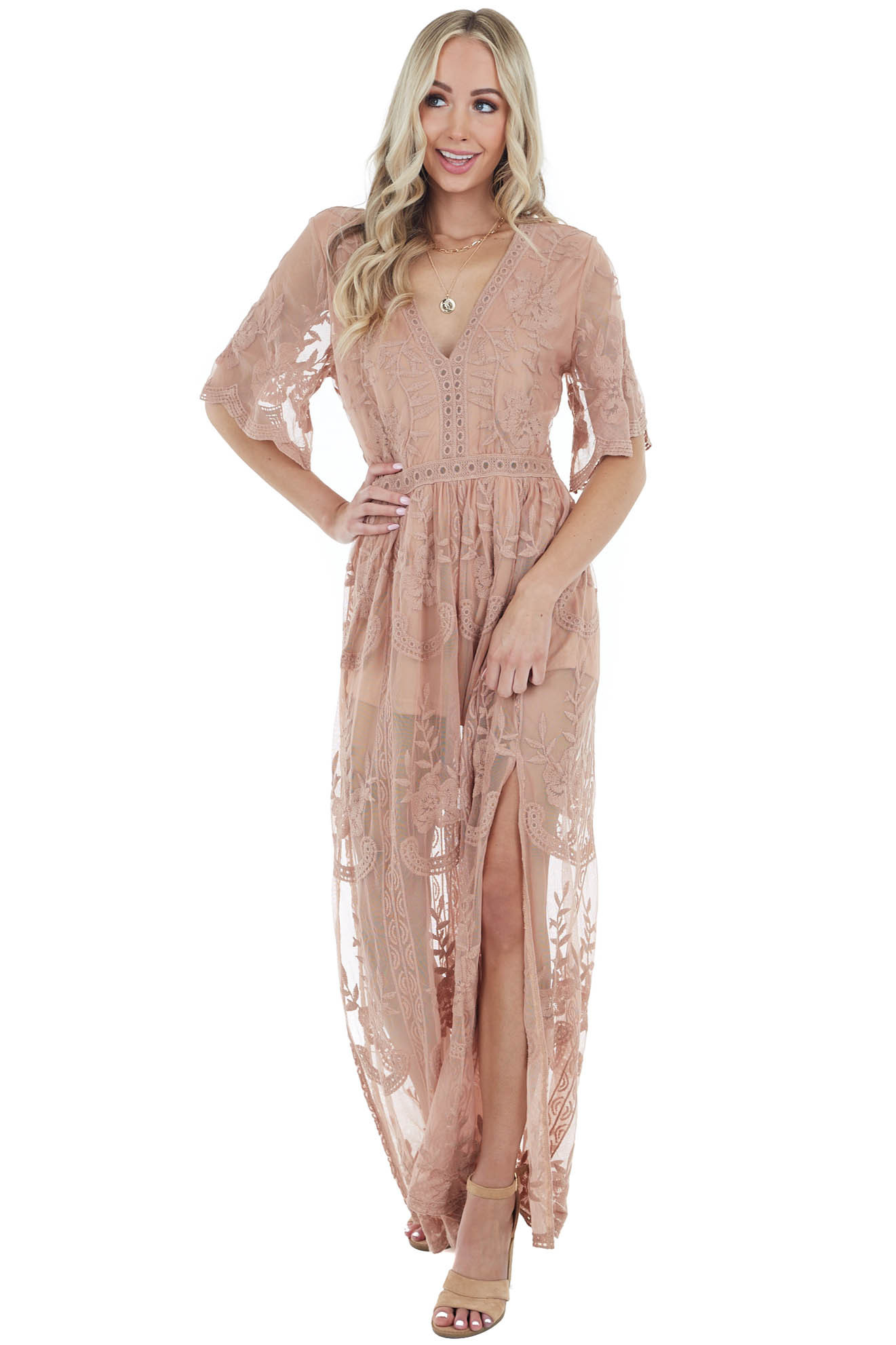 Camel Short Sleeve Maxi Dress with Floral Crochet Detail