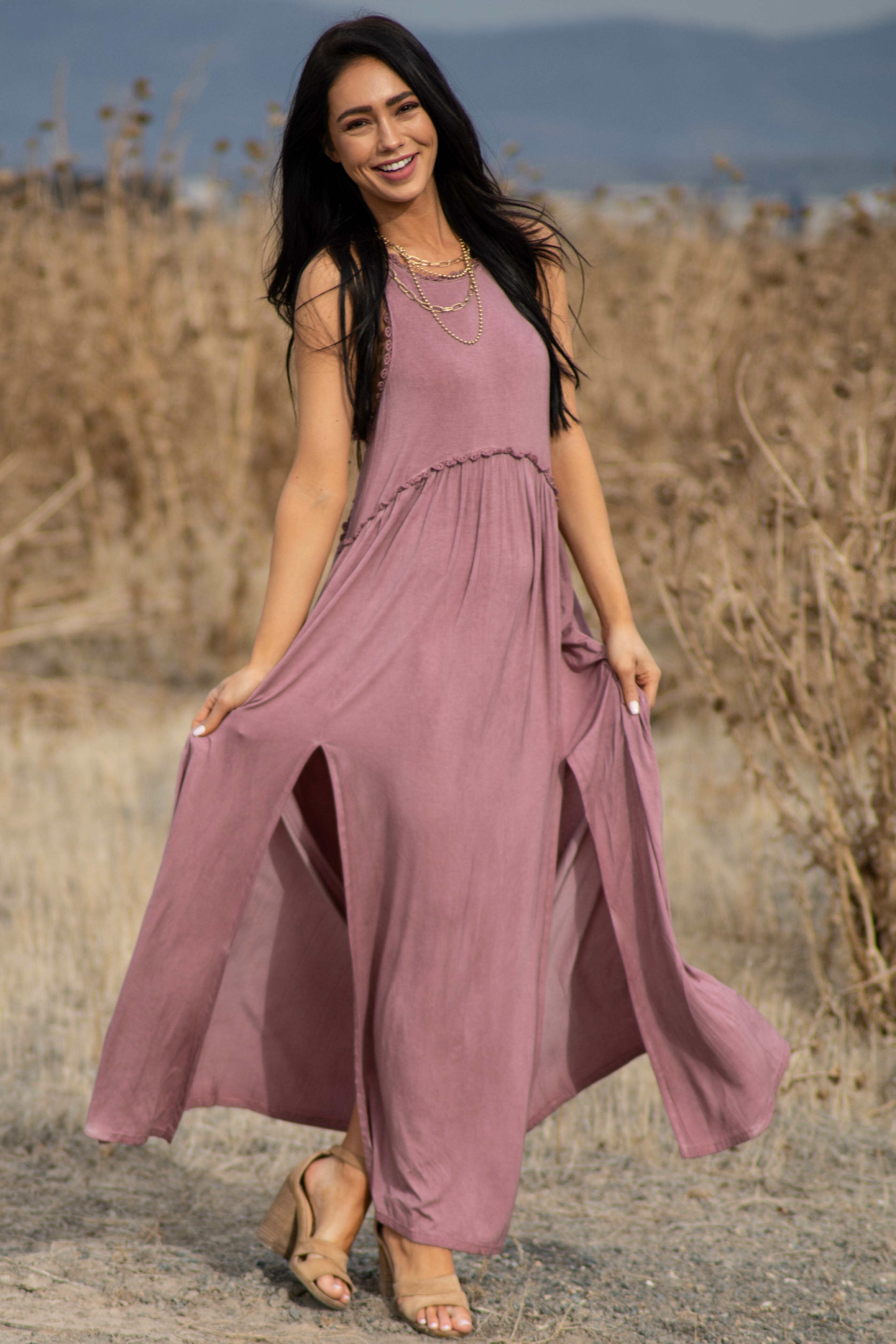 Dusty Mauve Sleeveless Maxi Dress with Side Slit Details