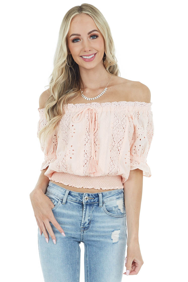 Apricot Off the Shoulder Smocked Crochet Top with Tassels