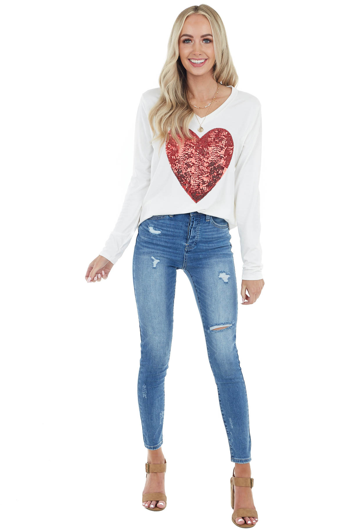 Ivory Long Sleeve Top with Lipstick Red Sequin Heart Detail