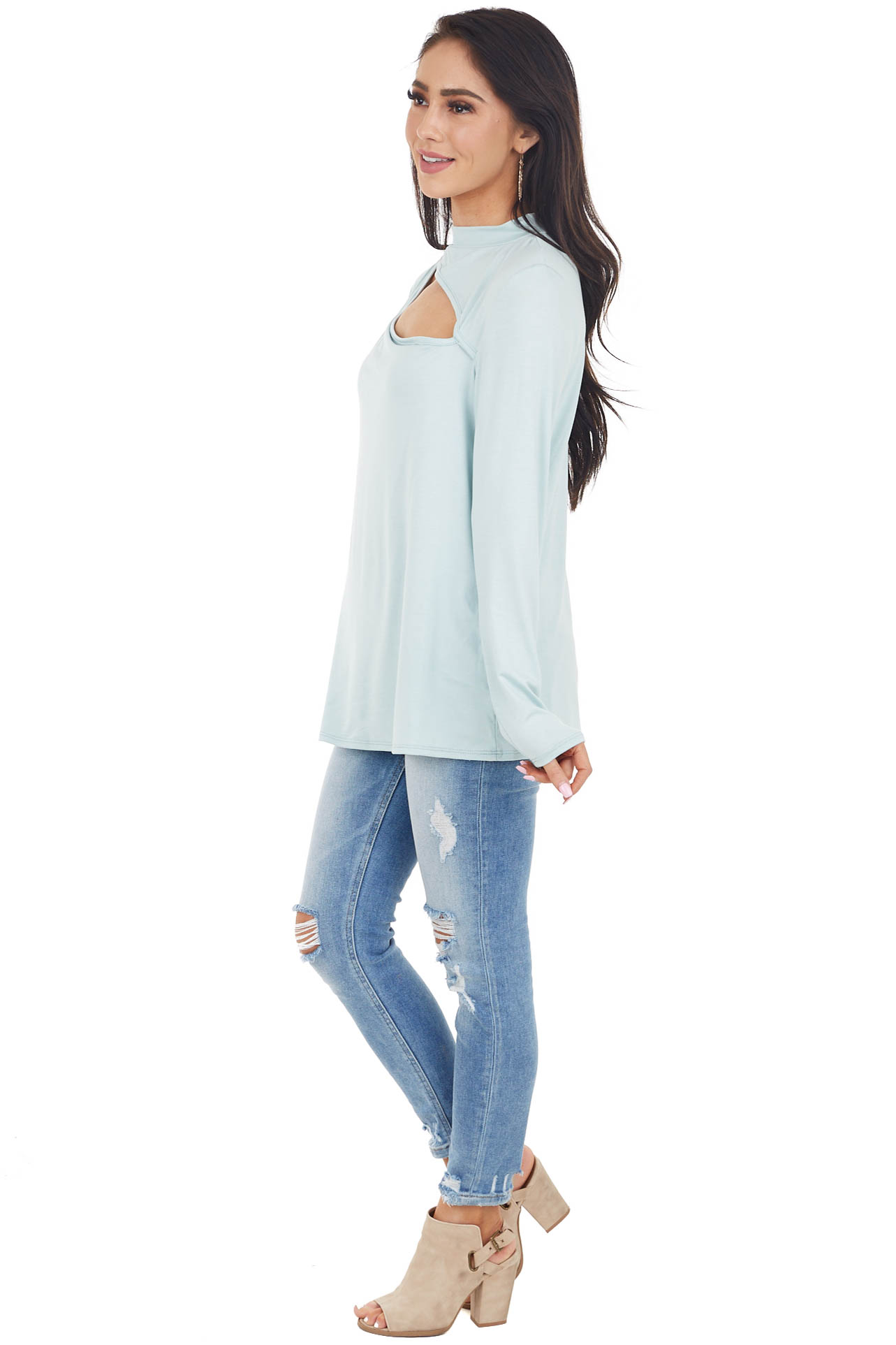 Sky Blue Chest Cut Out Stretchy Knit Top with Long Sleeves