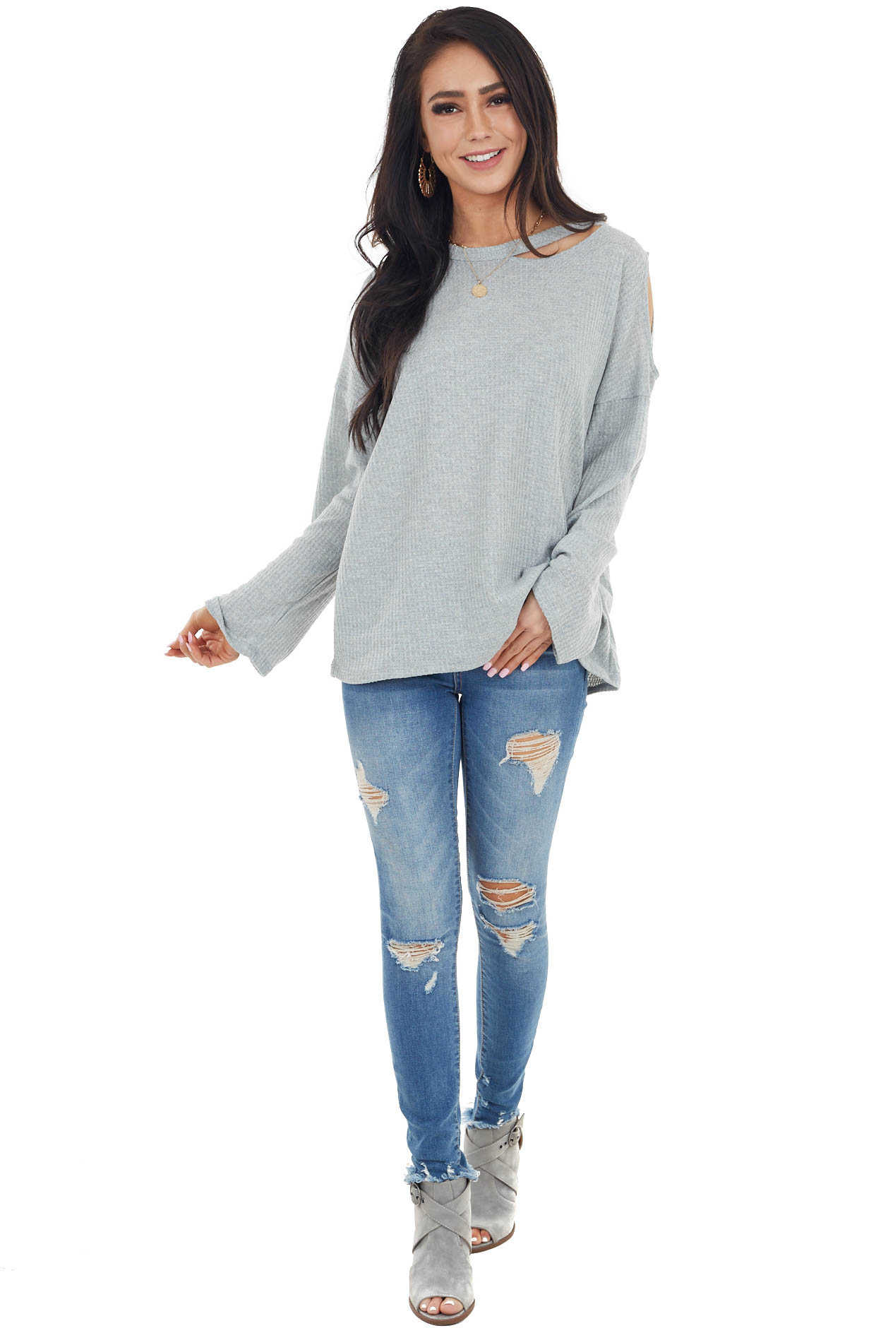 Heather Grey Waffle Knit Long Sleeve Top with Cold Shoulder