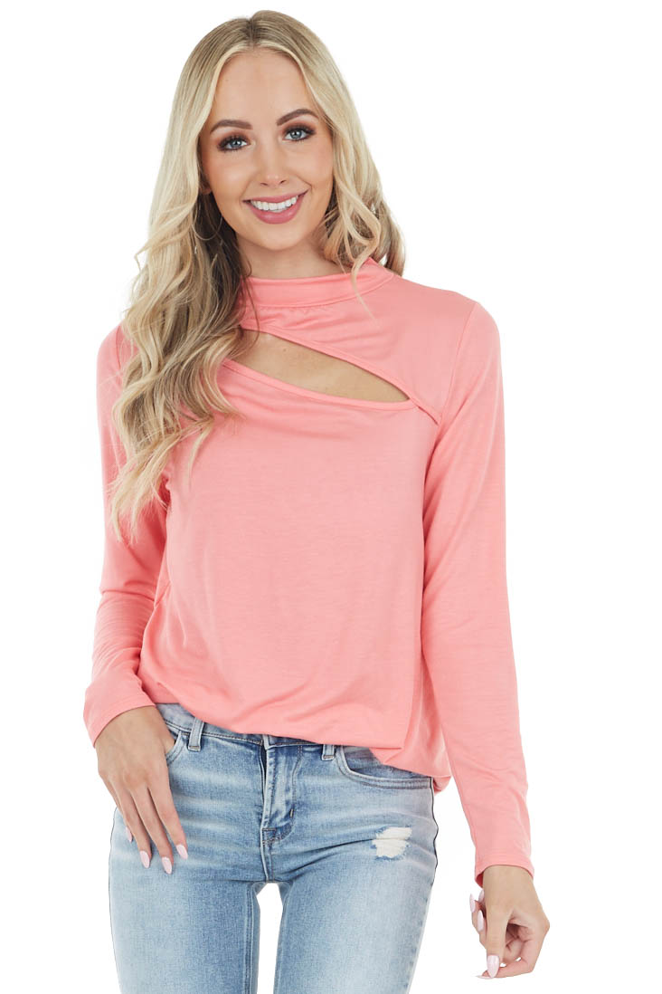 Coral Chest Cut Out Stretchy Knit Top with Long Sleeves