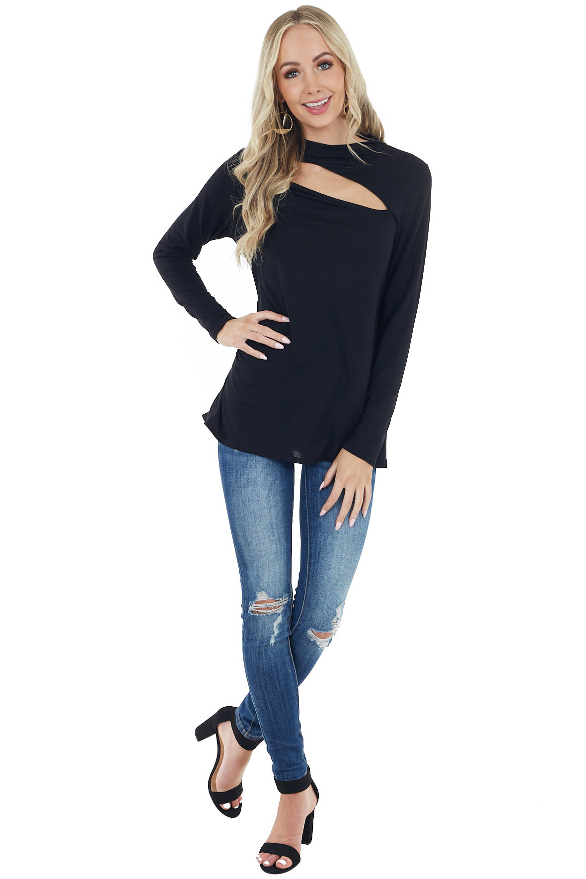 Black Chest Cut Out Stretchy Knit Top with Long Sleeves