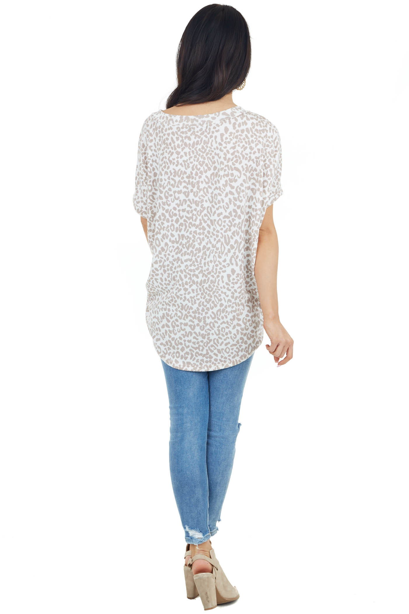 Ivory and Taupe Leopard Print Short Sleeve Knit Top