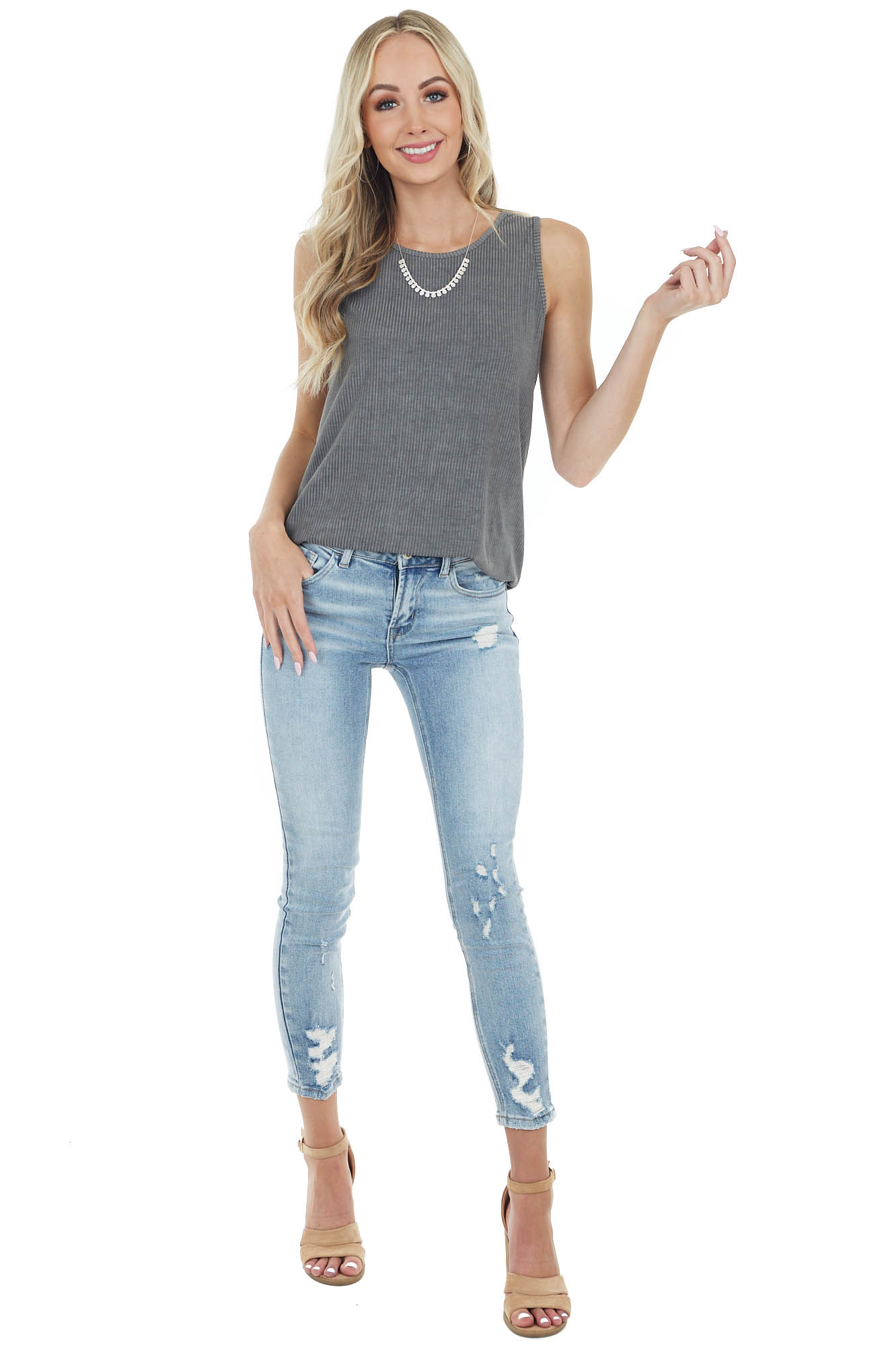 Charcoal Lightweight Sleeveless Stretchy Ribbed Knit Top