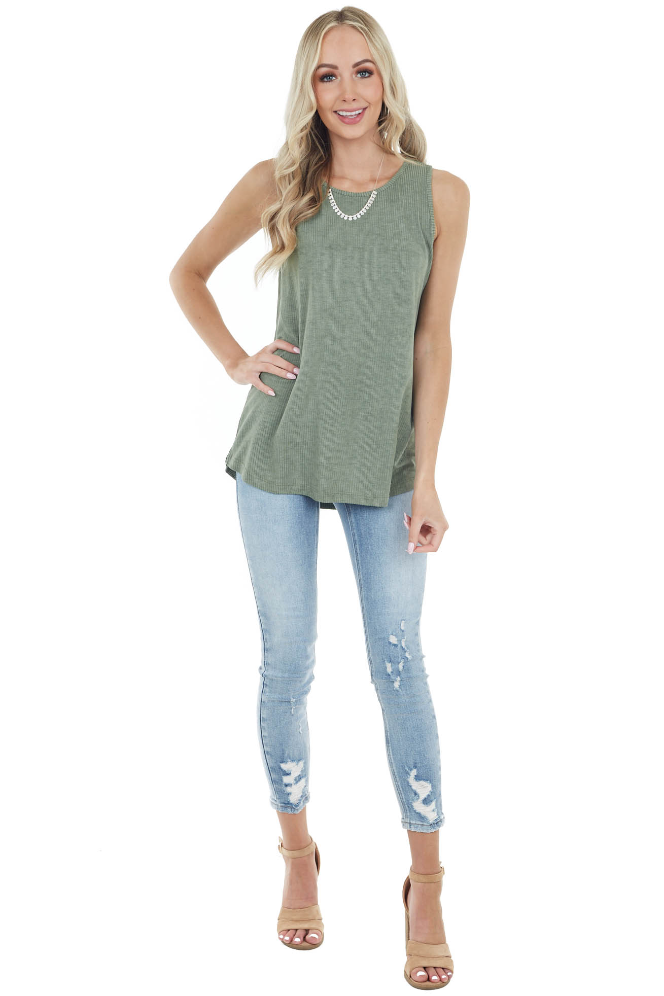 Olive Lightweight Sleeveless Stretchy Ribbed Knit Top