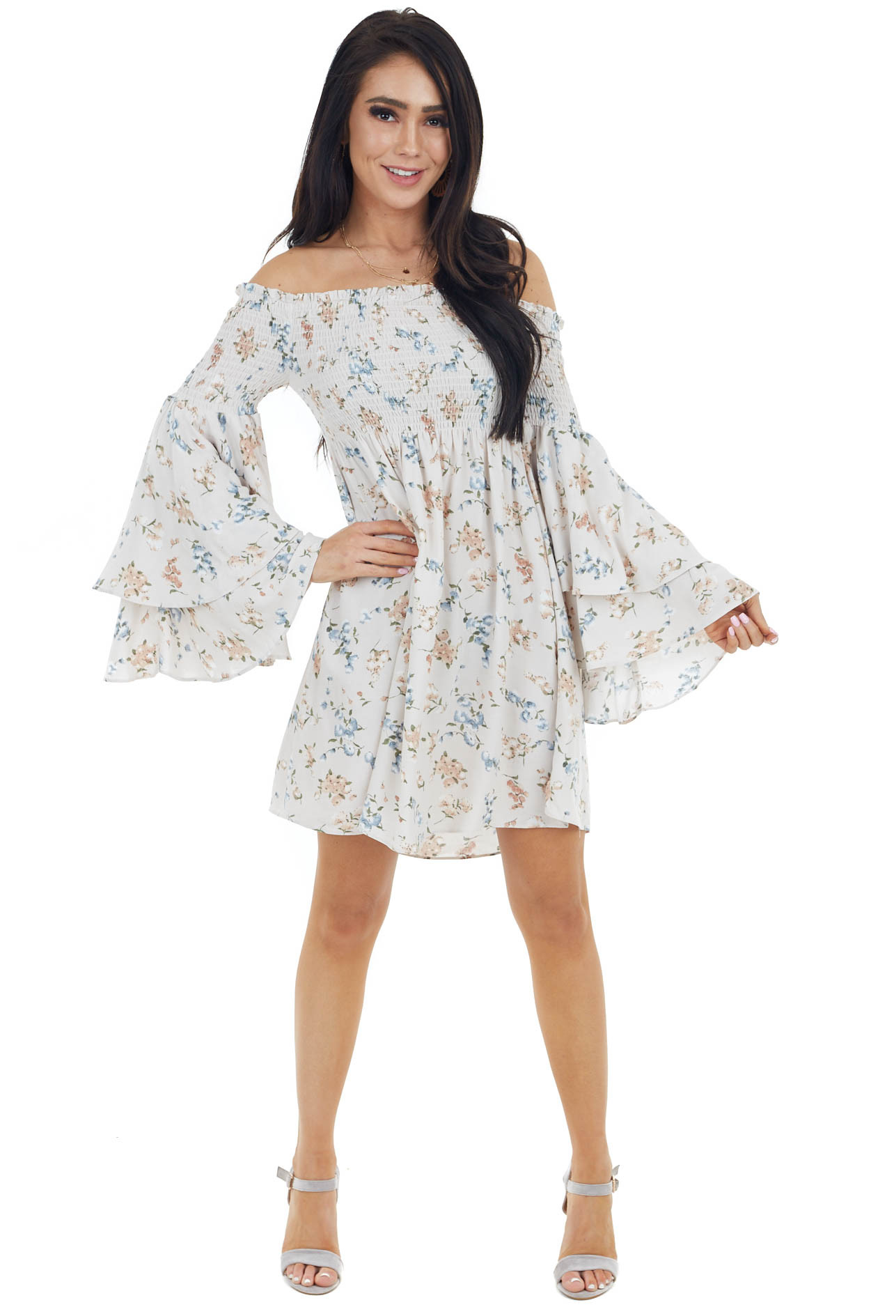 Light Blush Floral Print Dress with Long Bell Sleeves