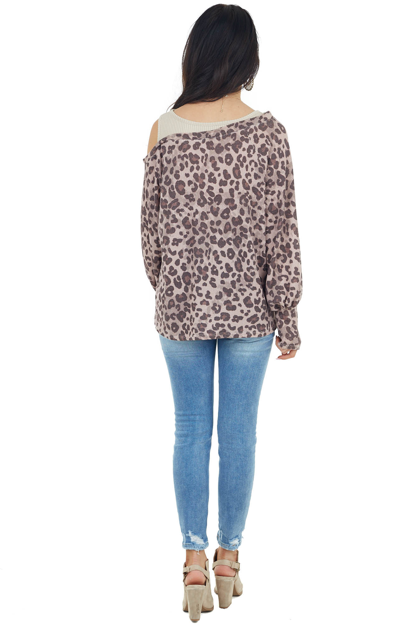 Dusty Blush Leopard Print Boat Neck Cold Shoulder Knit Top