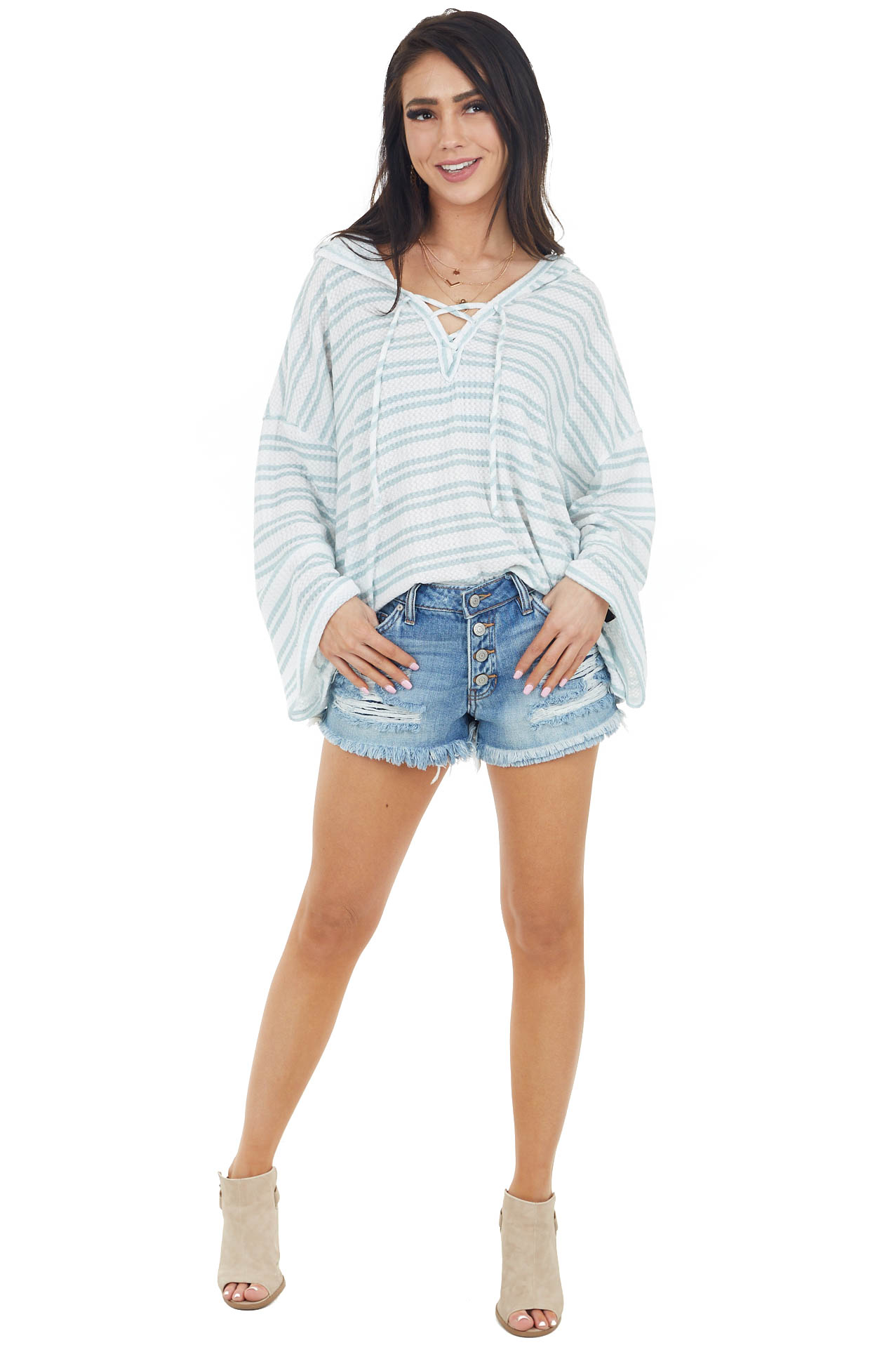 White and Sage Striped Waffle Knit Hoodie with Lace Up Front