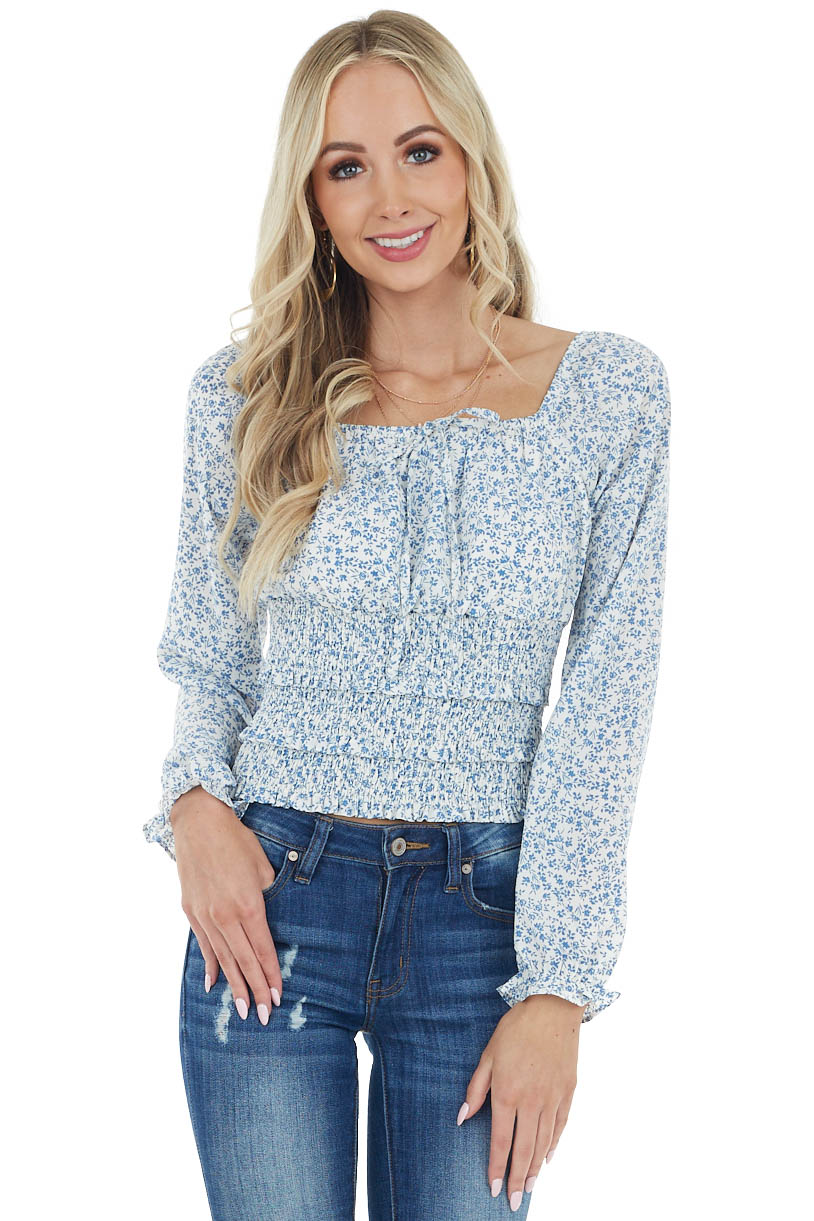 Ivory and Powder Blue Floral Woven Top with Smocked Waist