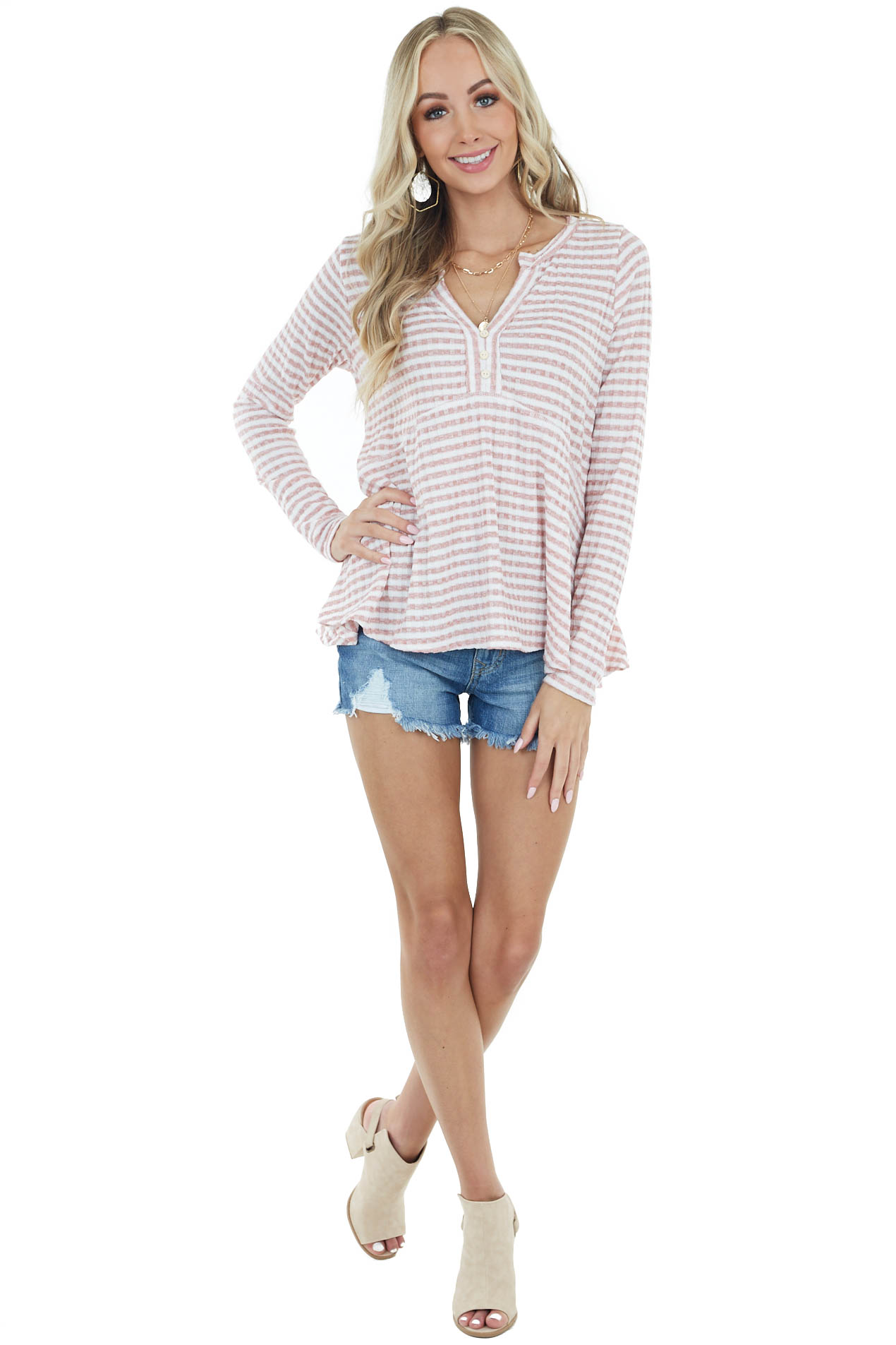 Mauve Striped Babydoll Knit Top with Button Detail