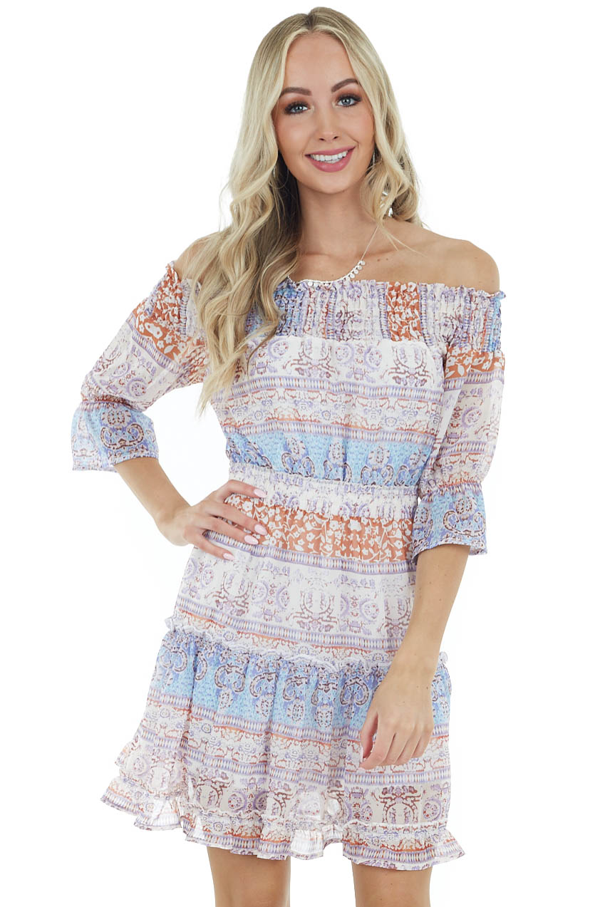 Cream Printed Short Dress with Smocked and Ruffled Detail