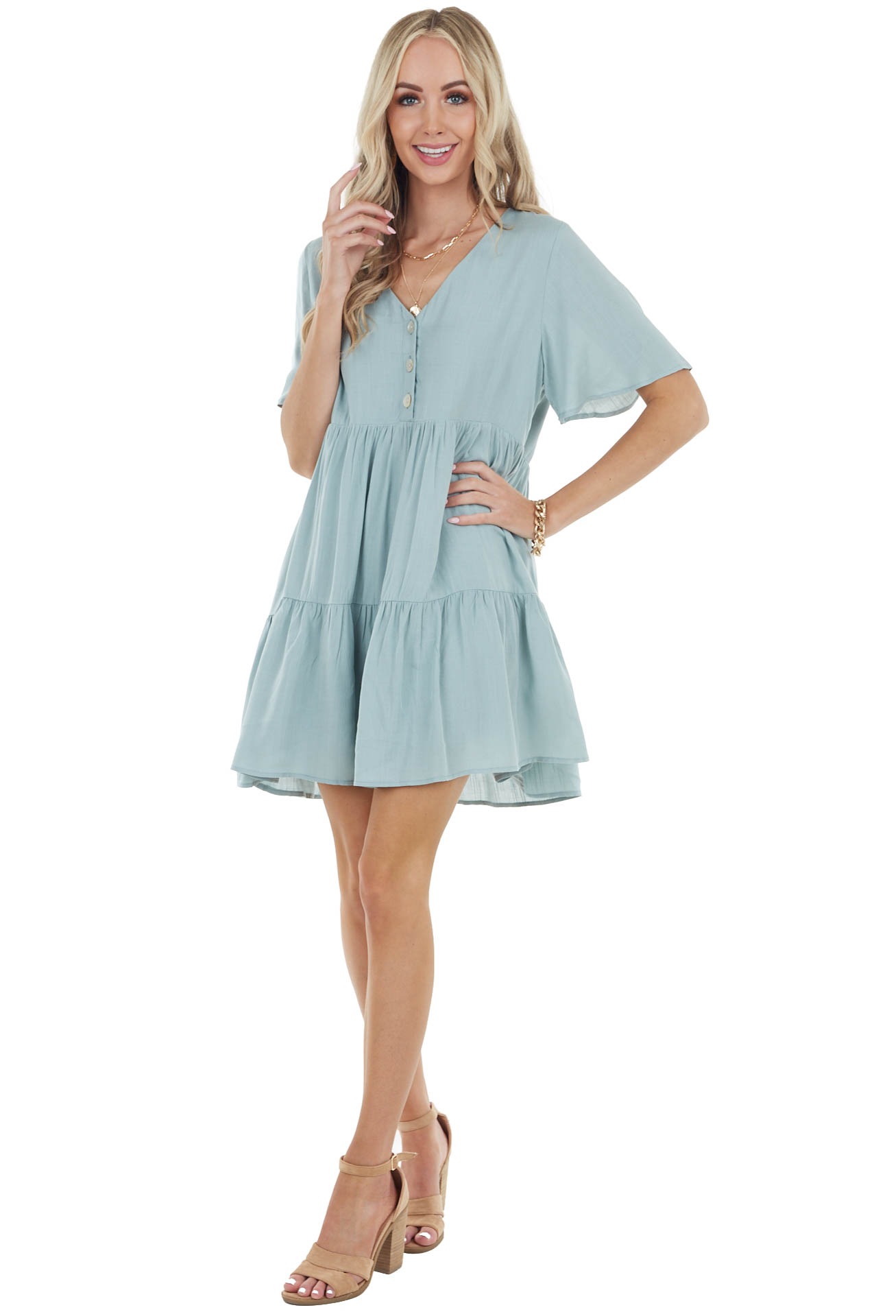 Sage Flutter Sleeve Tiered Short Dress with Button Detail