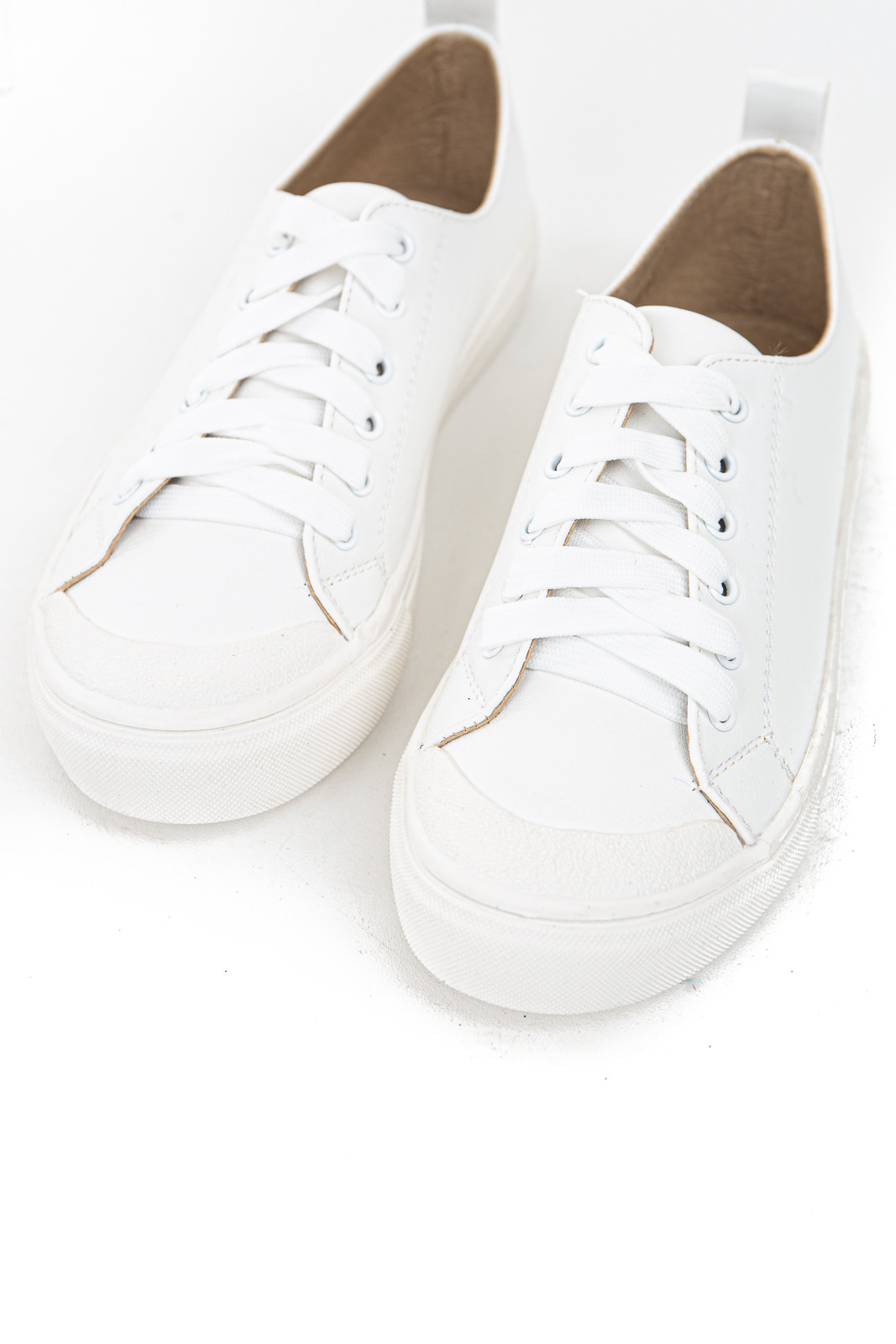 Ivory Faux Leather Sneakers with White Laces and Rubber Sole