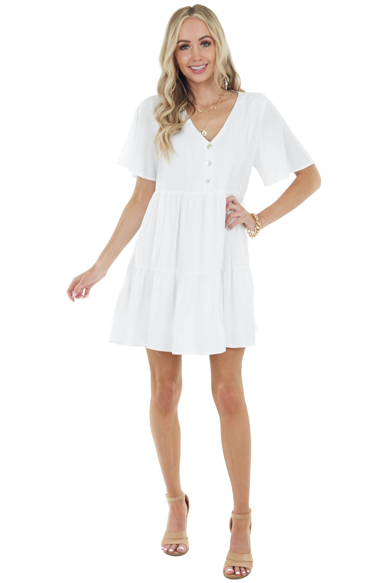 Ivory Flutter Sleeve Tiered Short Dress with Button Detail