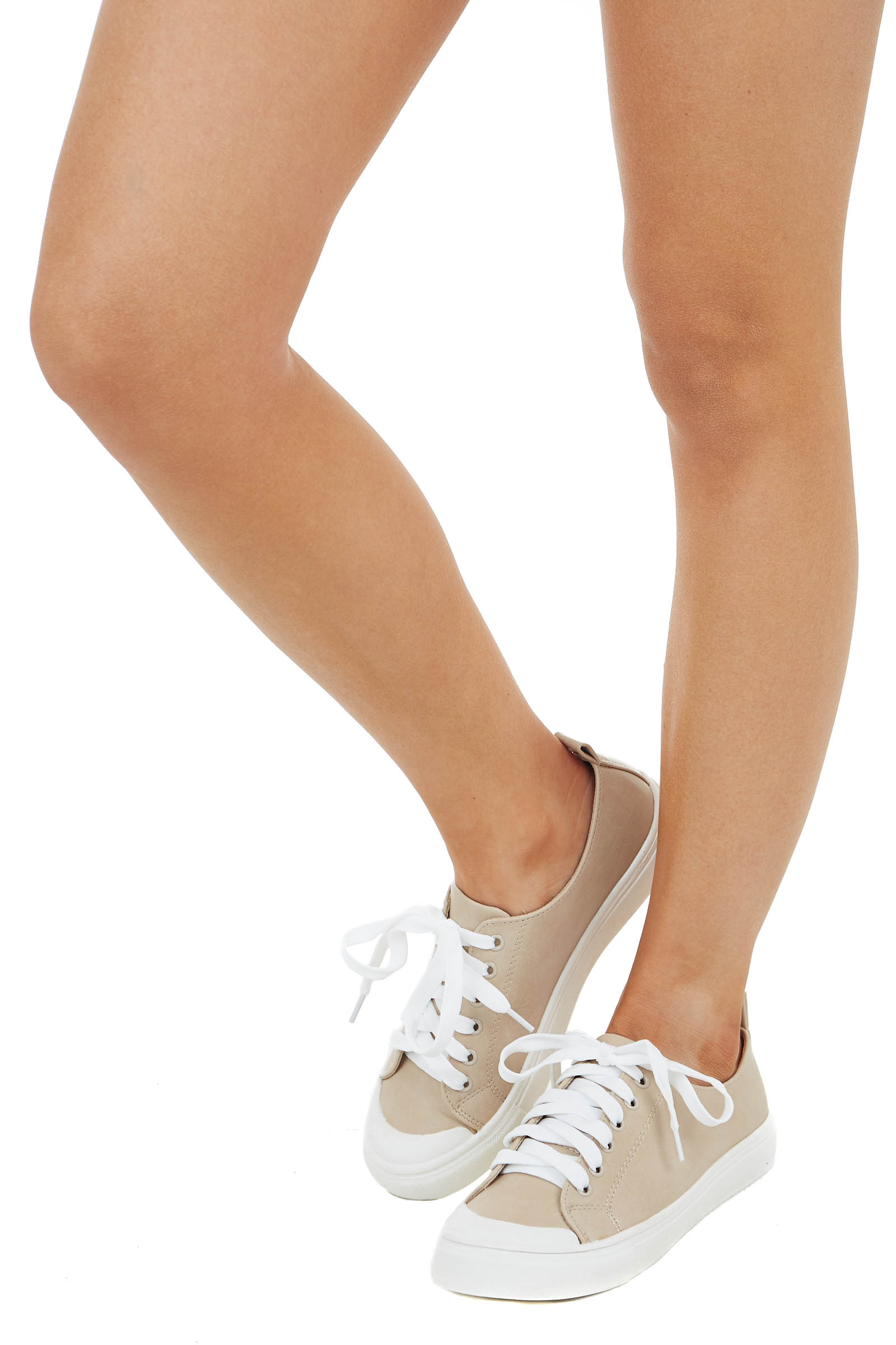 Beige Faux Leather Sneakers with White Laces and Rubber Sole