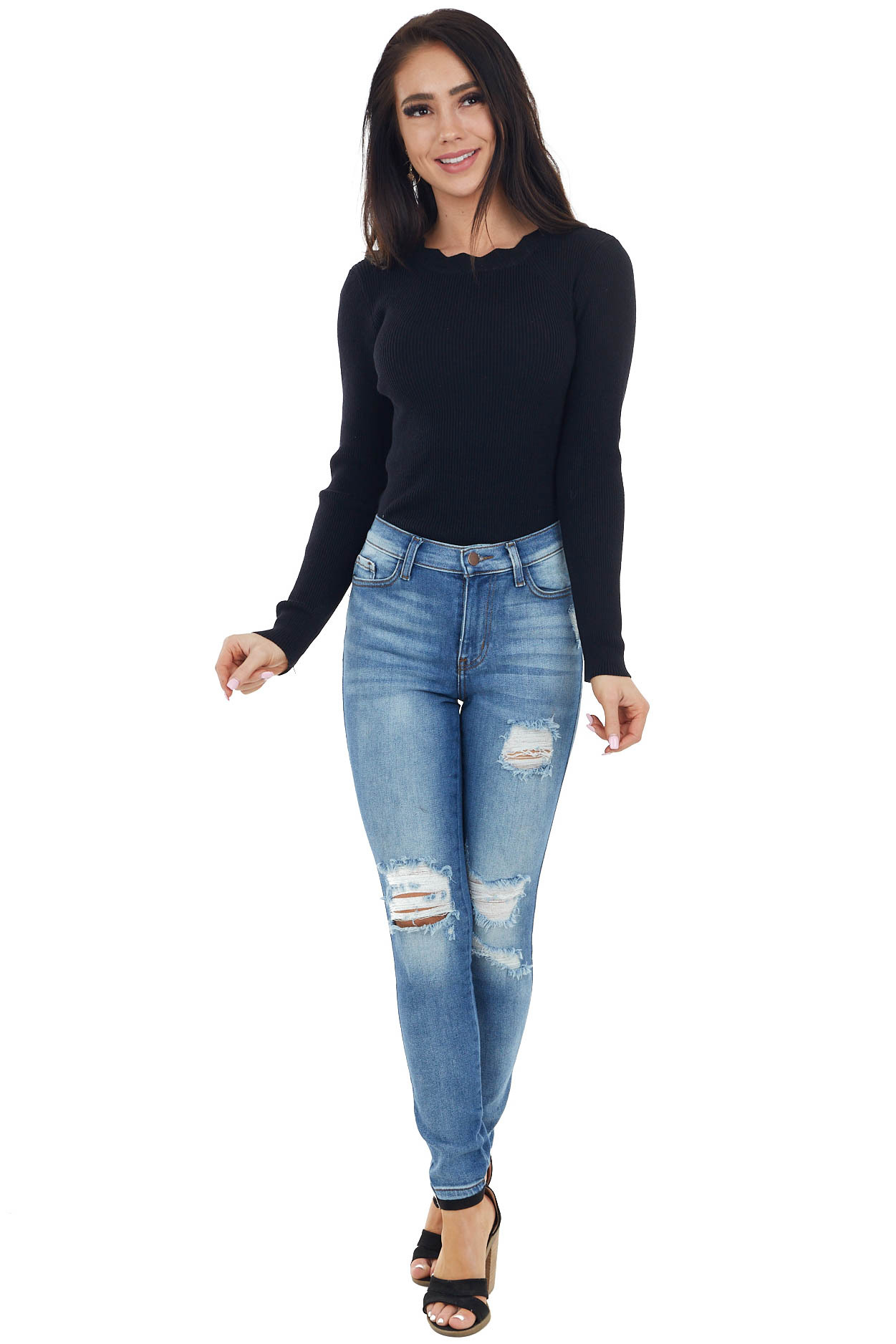 Black Ribbed Knit Bodysuit with Scalloped Neckline