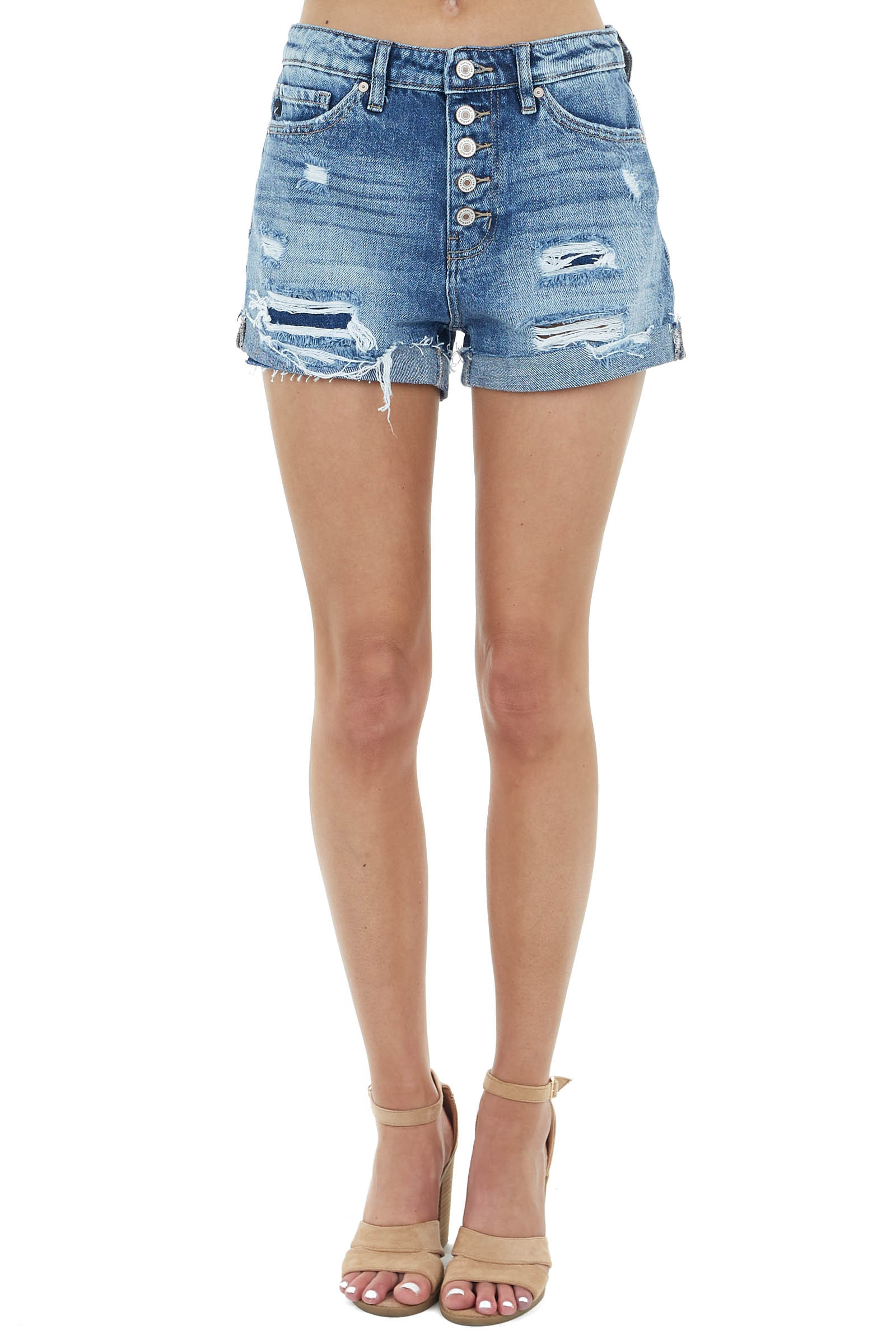Medium Wash High Rise Distressed Shorts with Button Detail