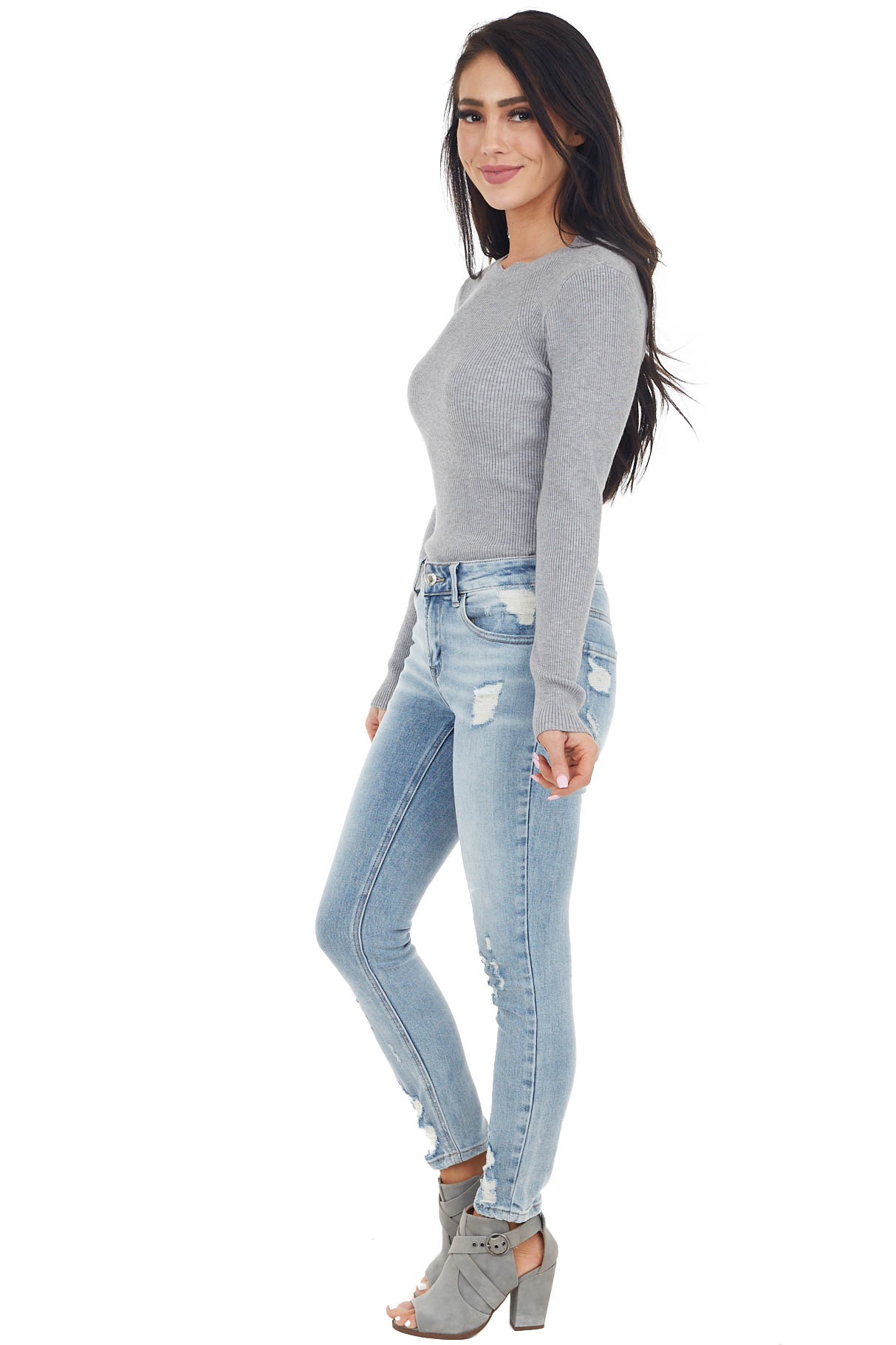 Dove Grey Ribbed Knit Bodysuit with Scalloped Neckline