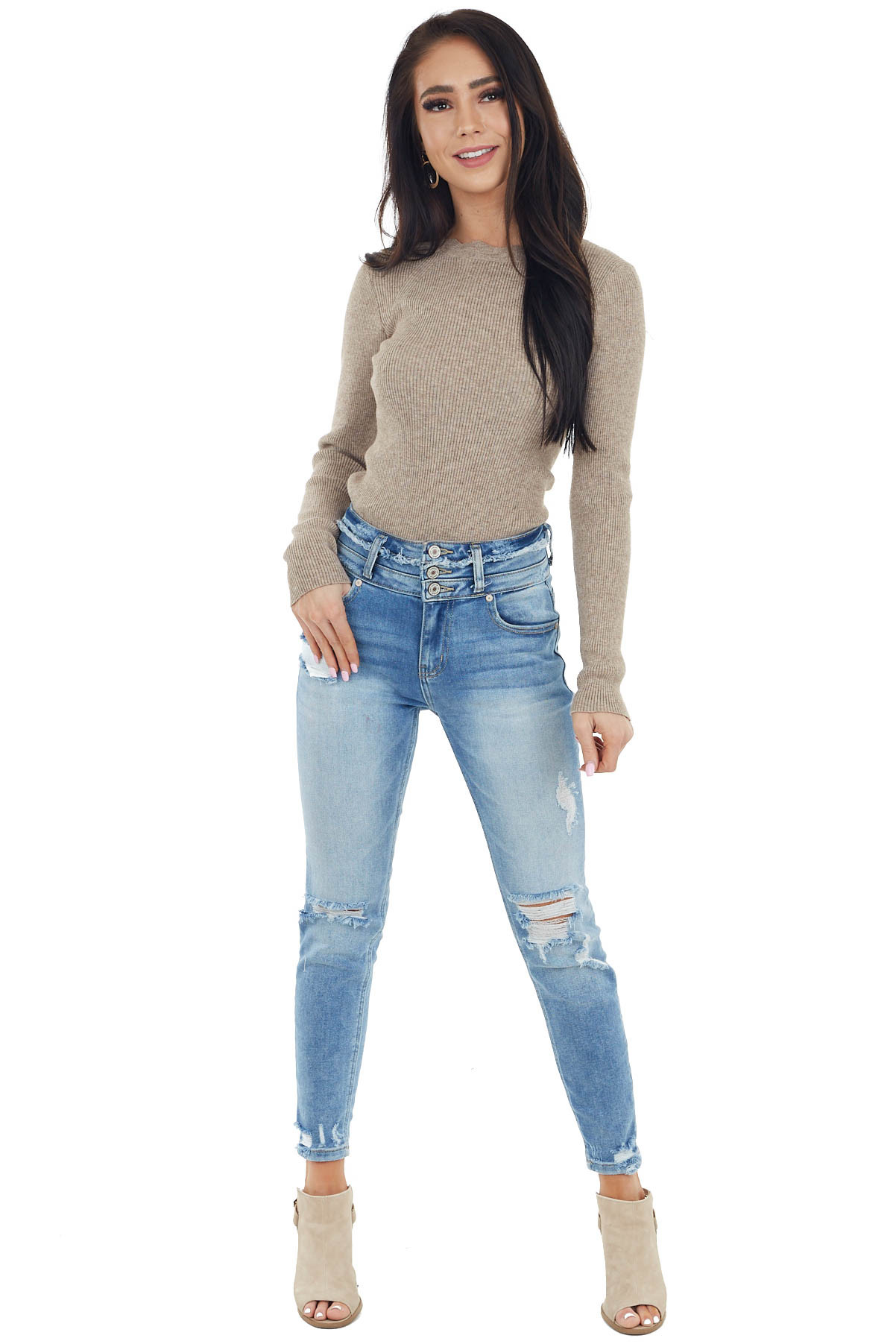 Latte Ribbed Knit Bodysuit with Scalloped Neckline