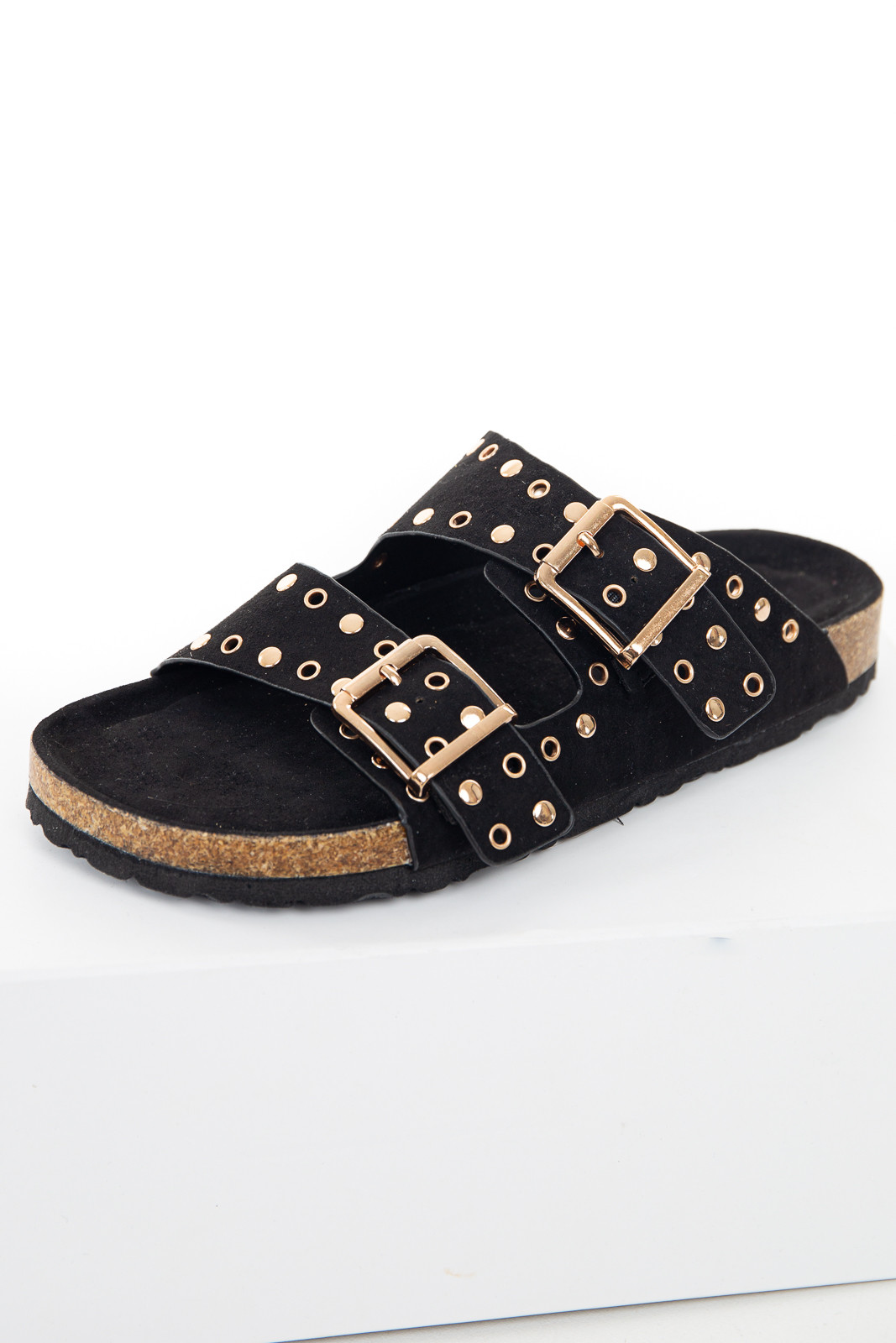 Black Sandals with Rose Gold Stud and Buckle Details