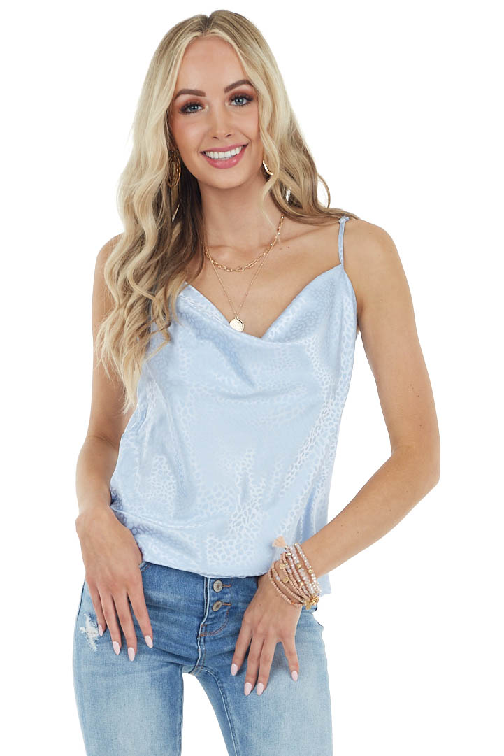 Cornflower Cheetah Print Woven Camisole with Draped Neckline