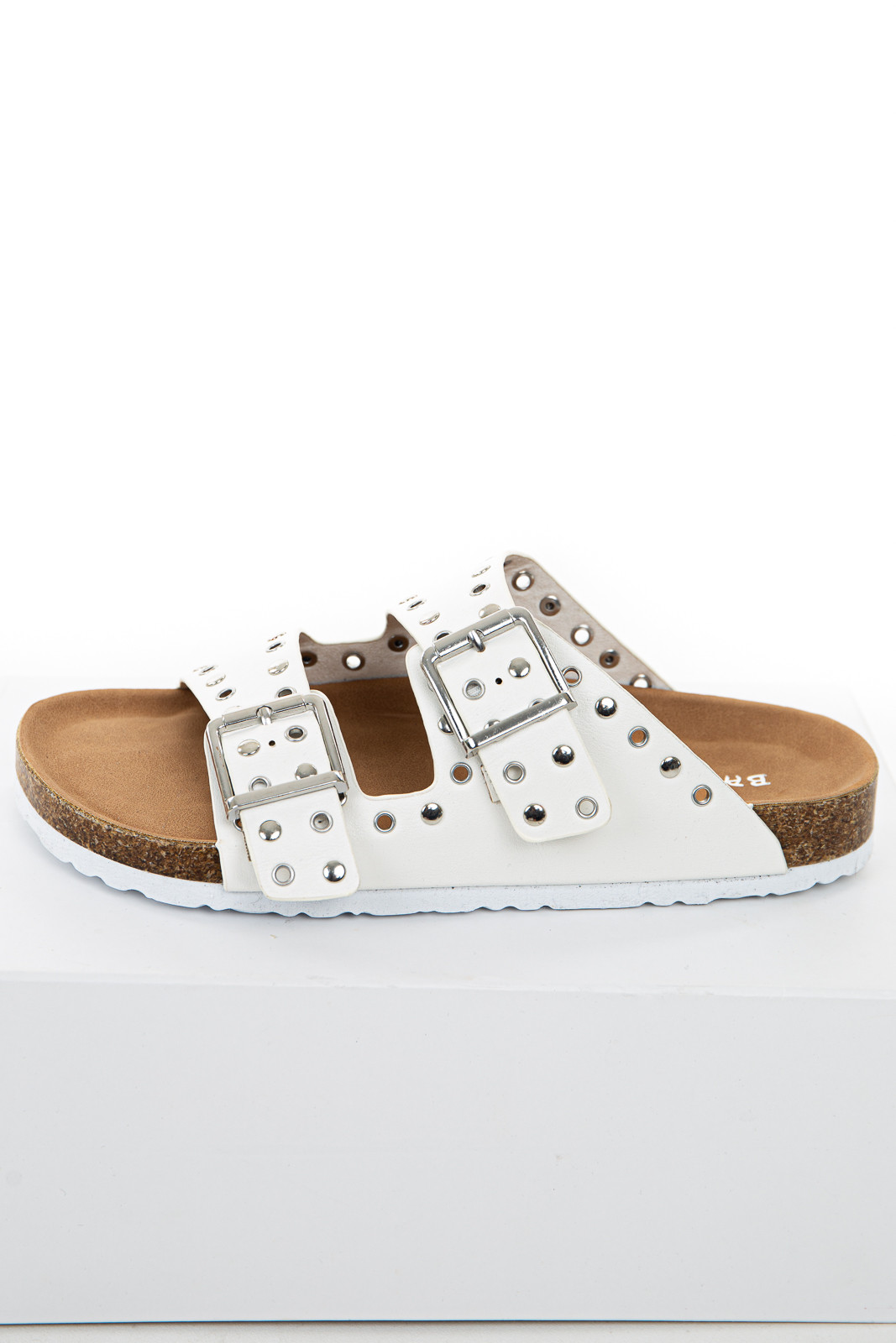 Ivory Sandals with Silver Stud and Buckle Details