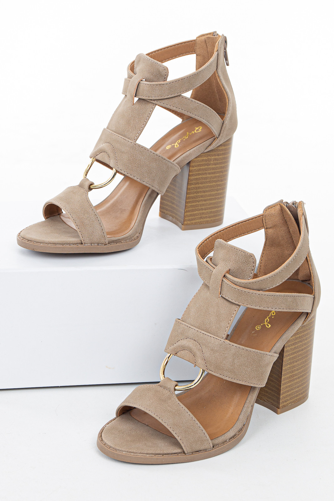 Beige Faux Leather Strappy High Heel with Gold Ring Detail