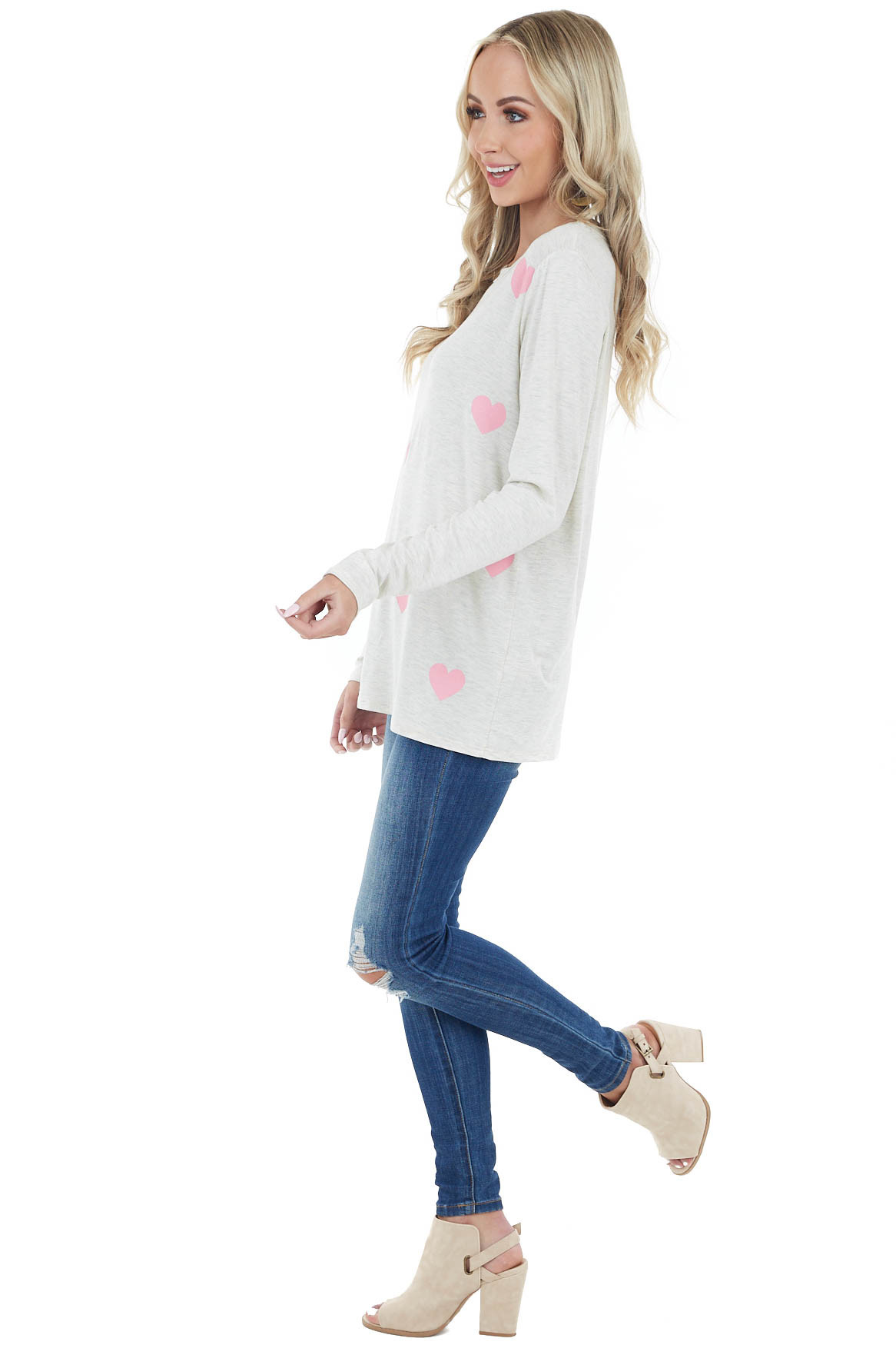 Oatmeal Long Sleeve Knit Top with Bright Pink Heart Pattern