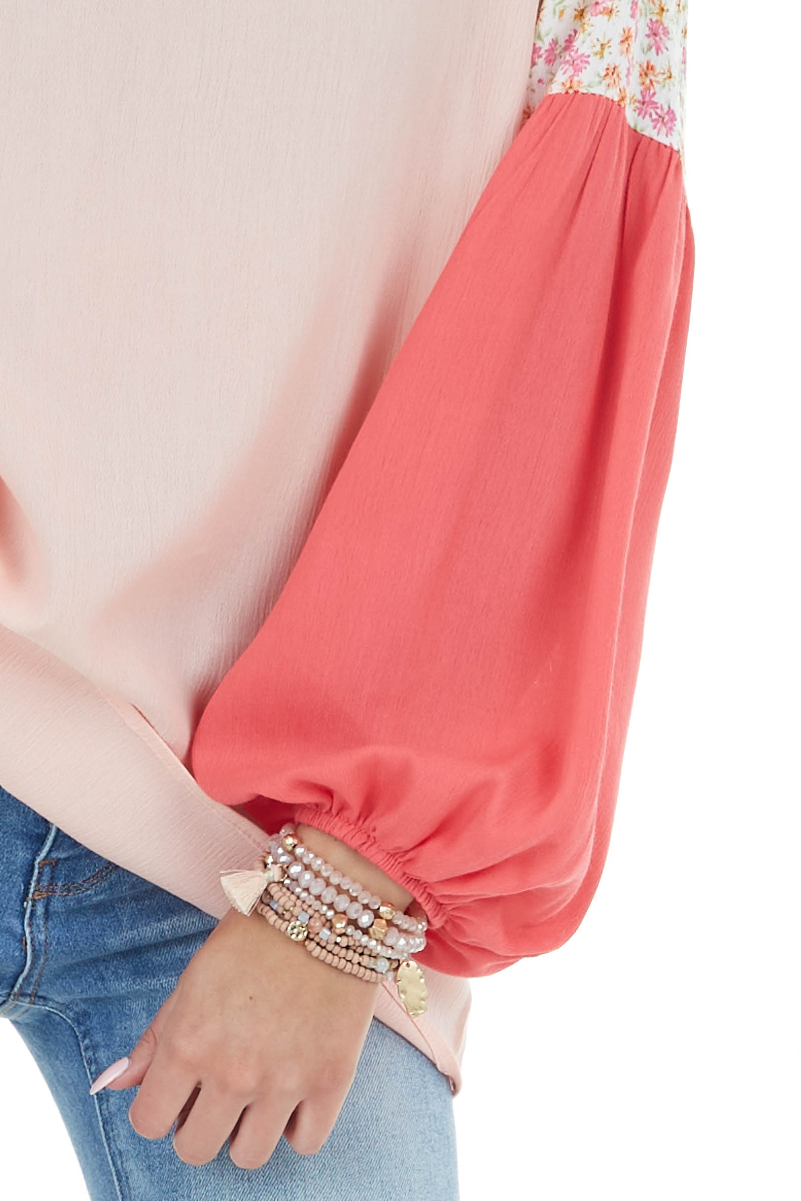 Peach Colorblock Long Sleeve Woven Top with Floral Detail