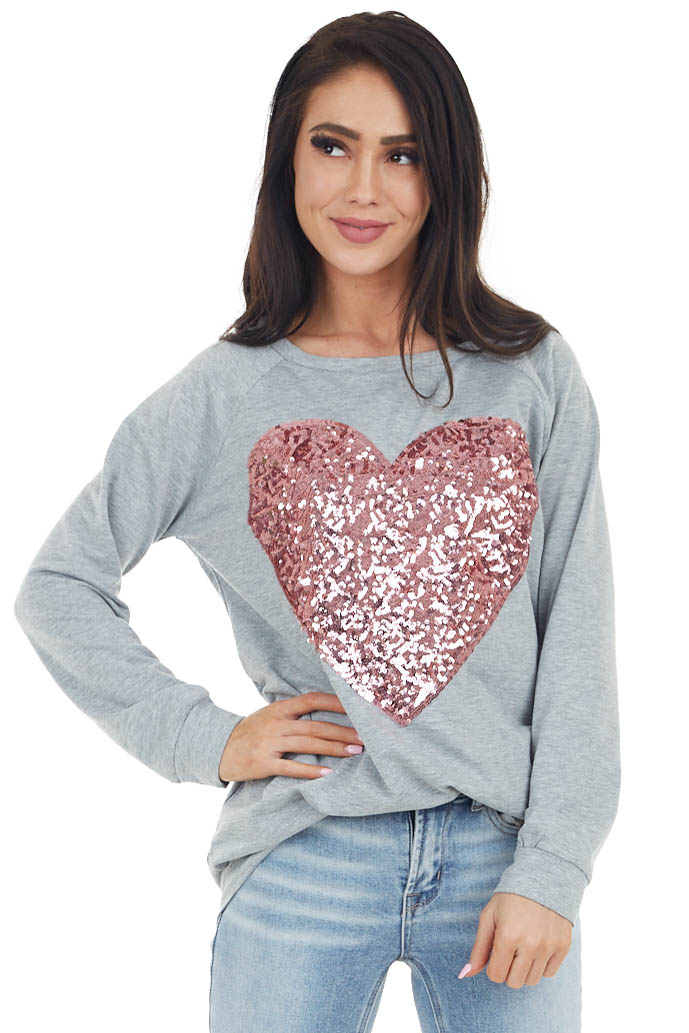 Heather Grey Long Sleeve Knit Top with Pink Sequin Heart