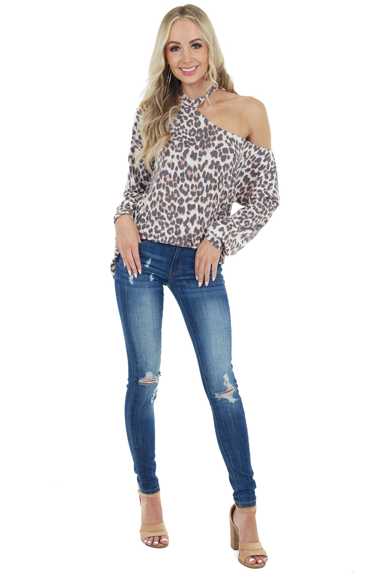 Latte Leopard Print Long Sleeve Knit Top with Cold Shoulder