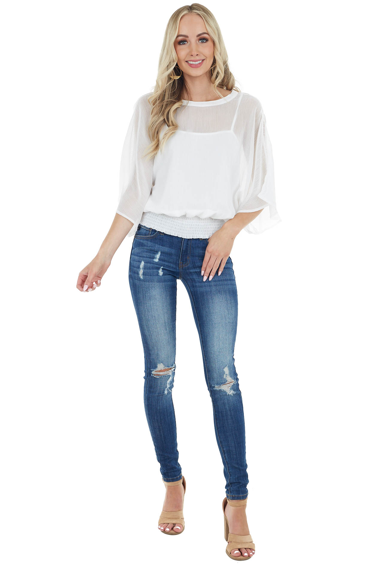White Sheer Top with Short Kimono Sleeves and Smocked Waist