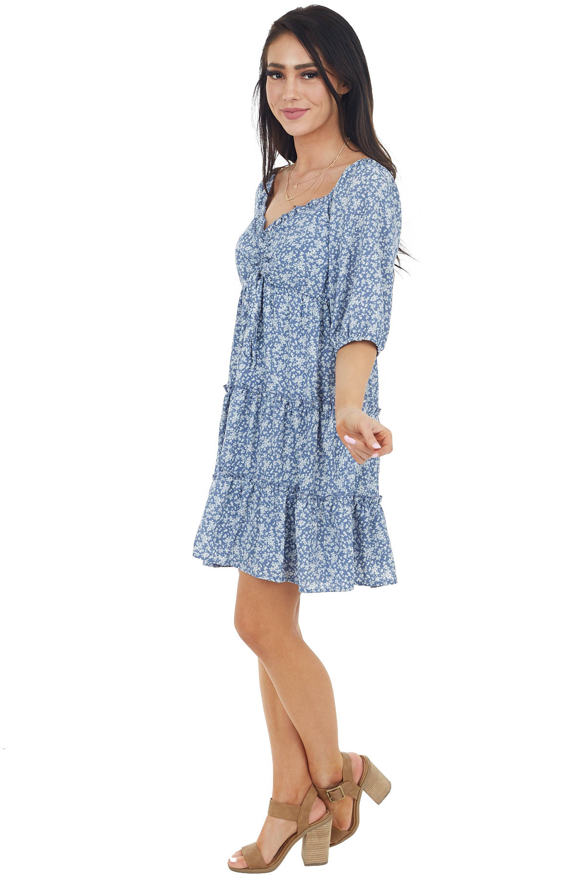 Slate Blue Floral Print Mini Tiered Dress with 3/4 Sleeves