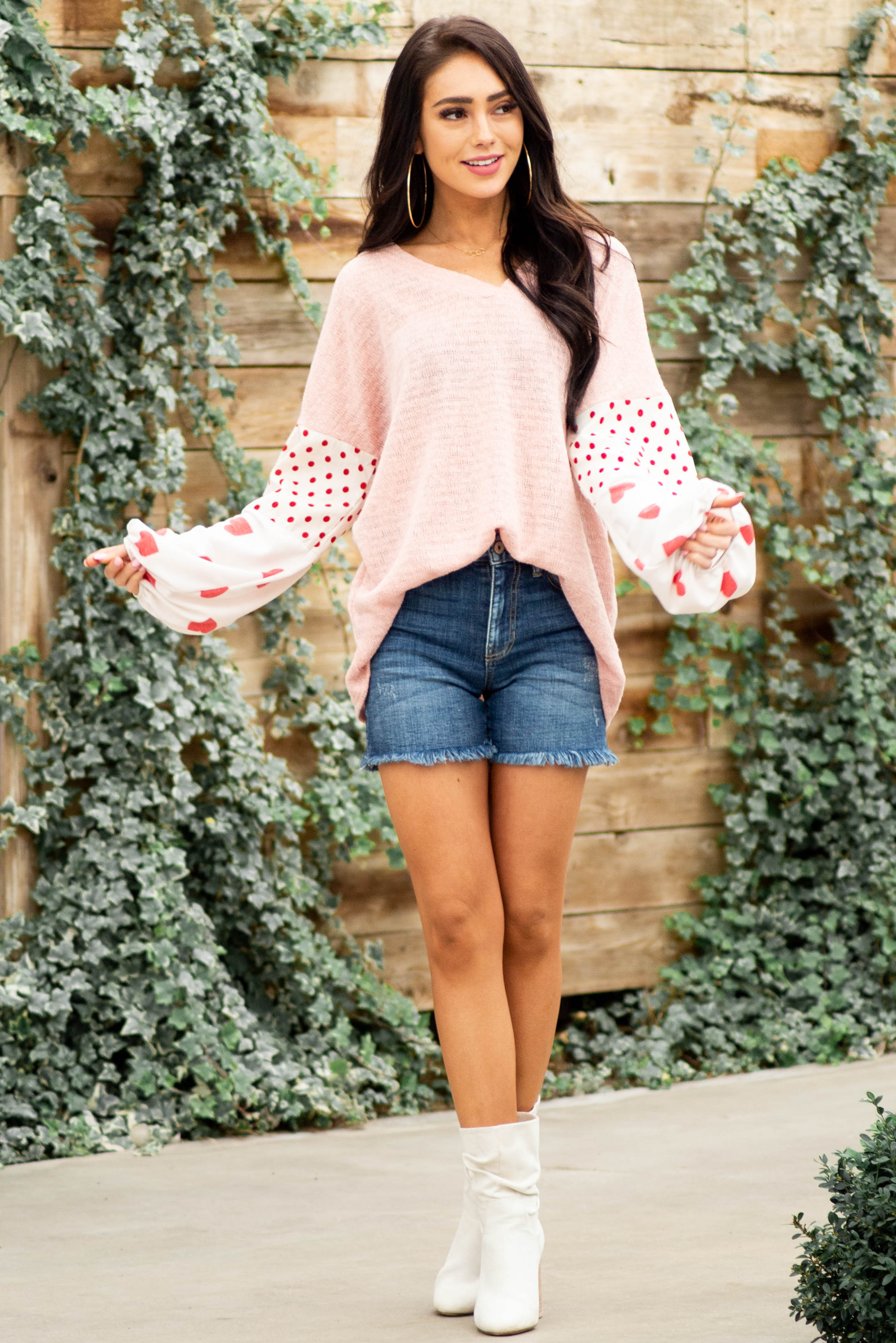 Blush Pink Knit V Neck Top with Dot and Heart Pattern Sleeve