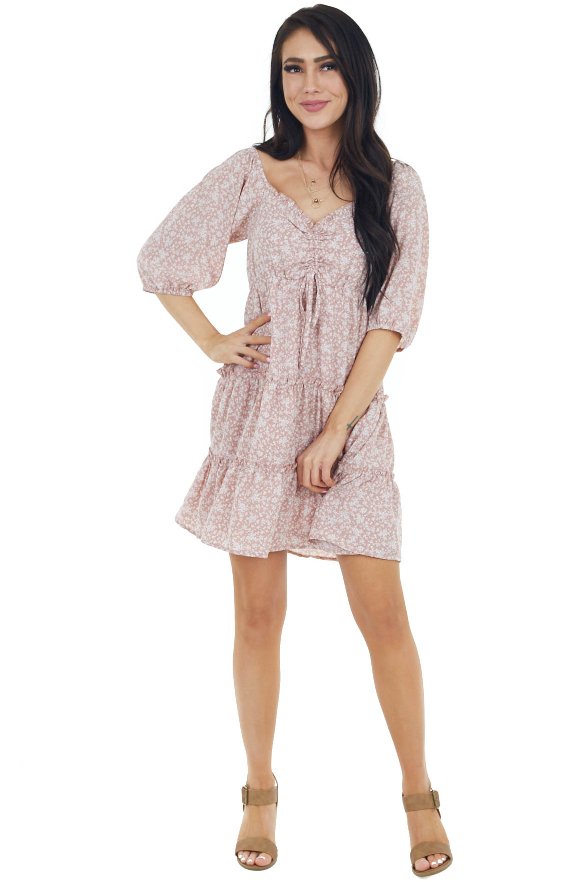 Dusty Rose Floral Print Mini Tiered Dress with 3/4 Sleeves