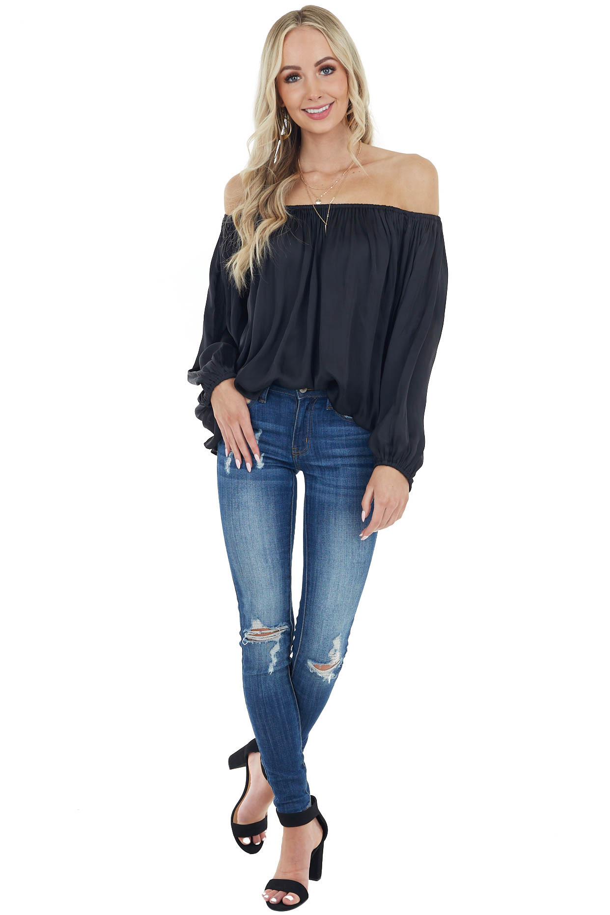 Black Off the Shoulder Woven Blouse with Puff Sleeves