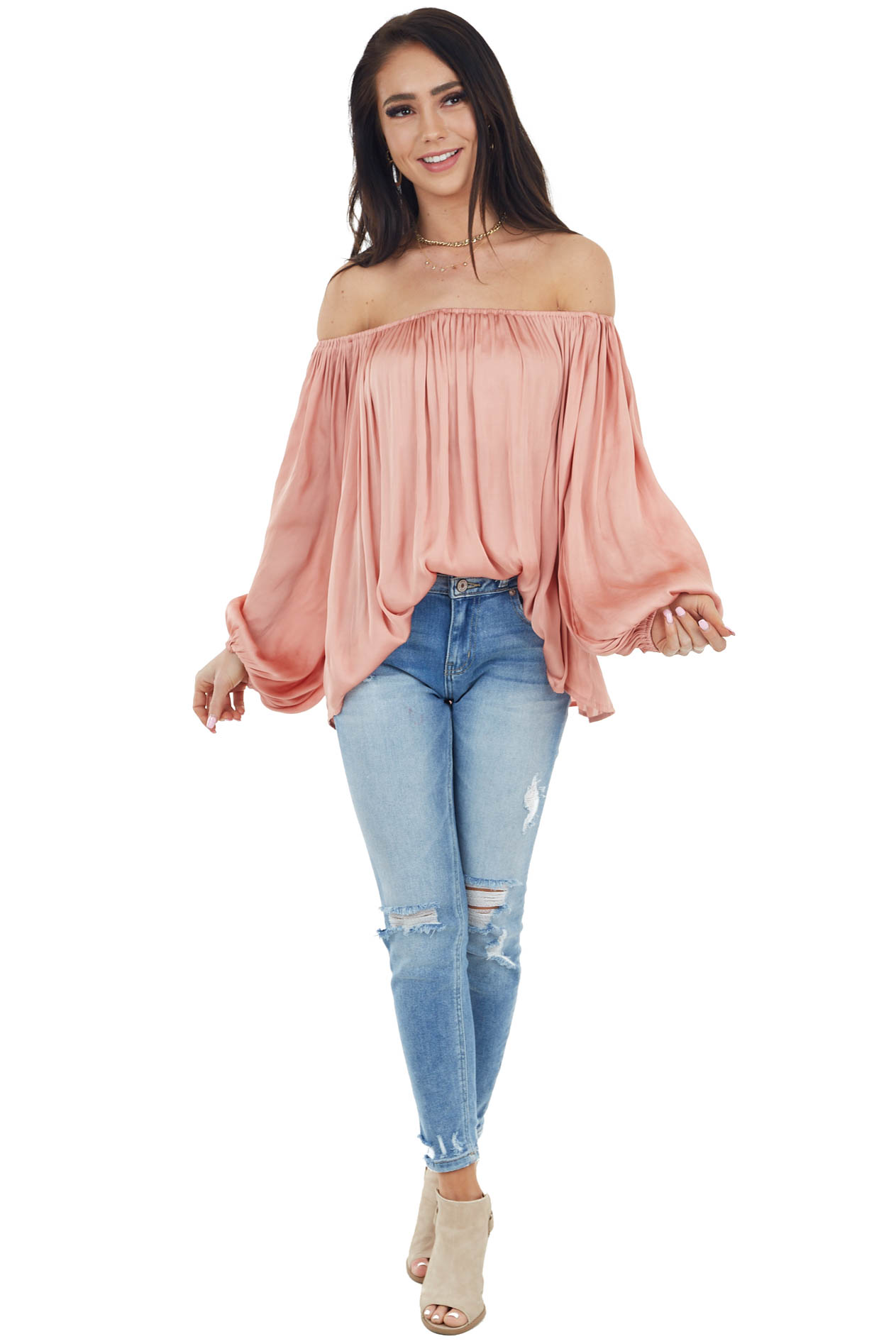 Blush Off the Shoulder Woven Blouse with Puff Sleeves