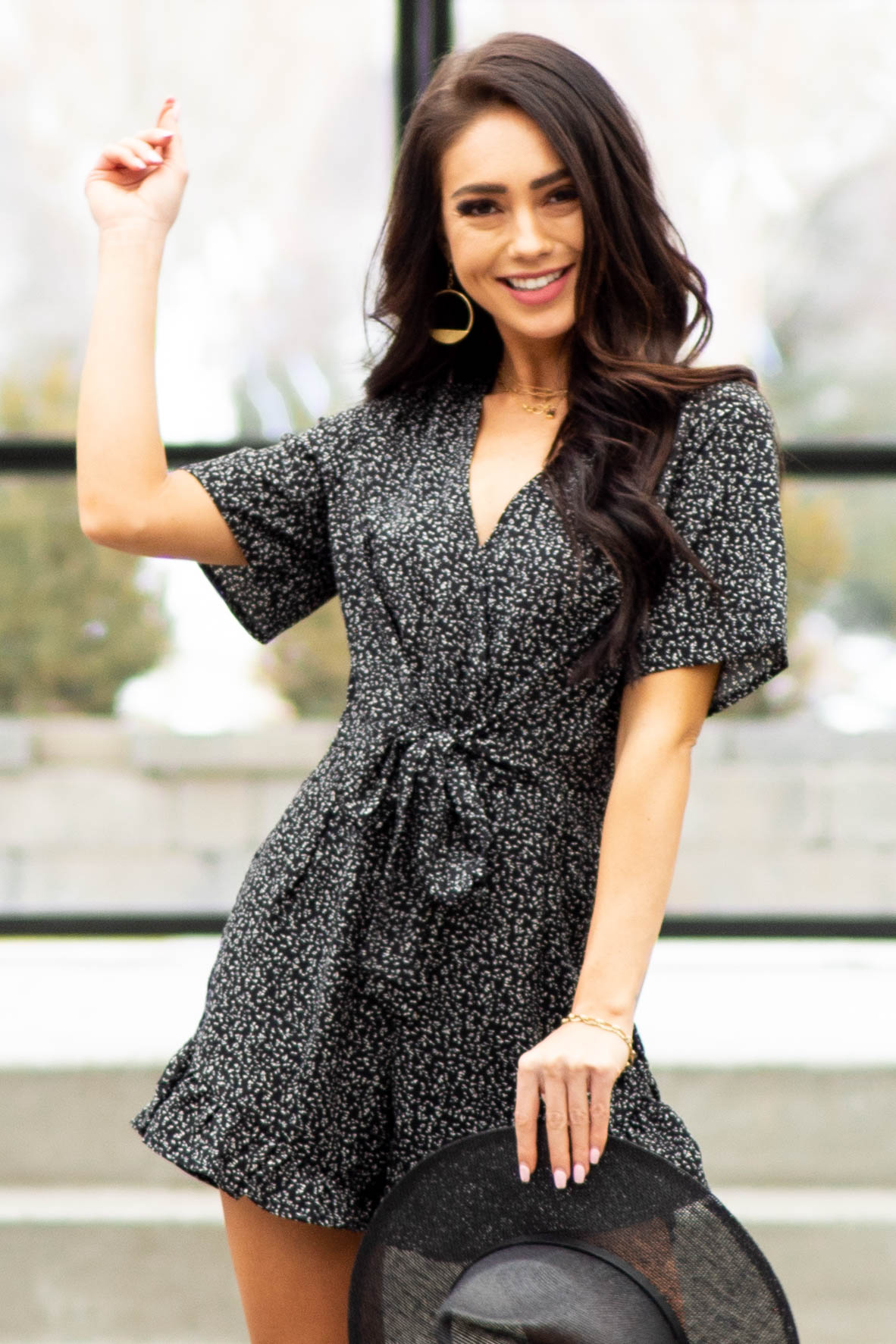 Black Abstract Print Short Sleeve Romper with Front Tie