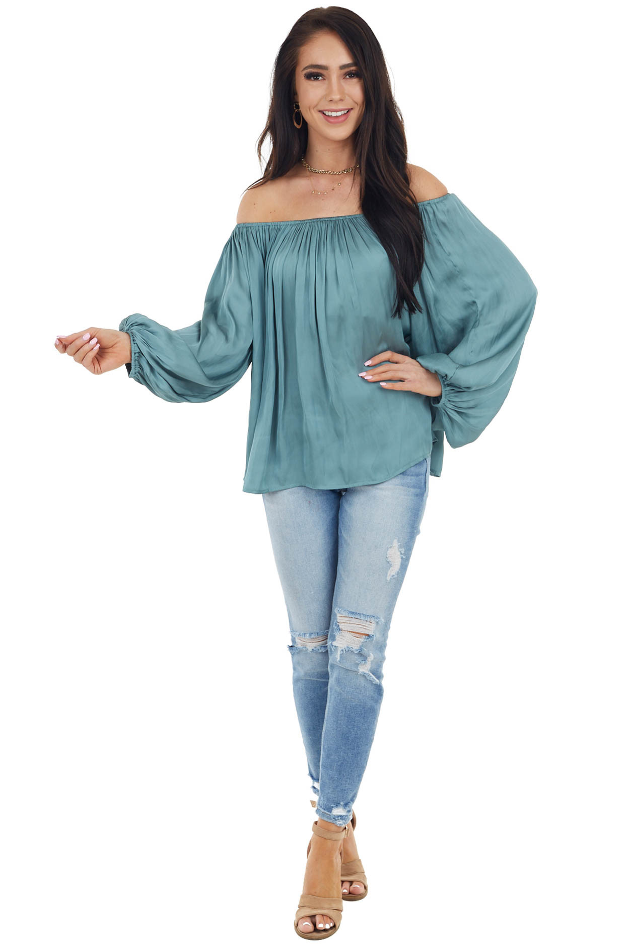 Dark Sage Off Shoulder Woven Blouse with Puff Sleeves