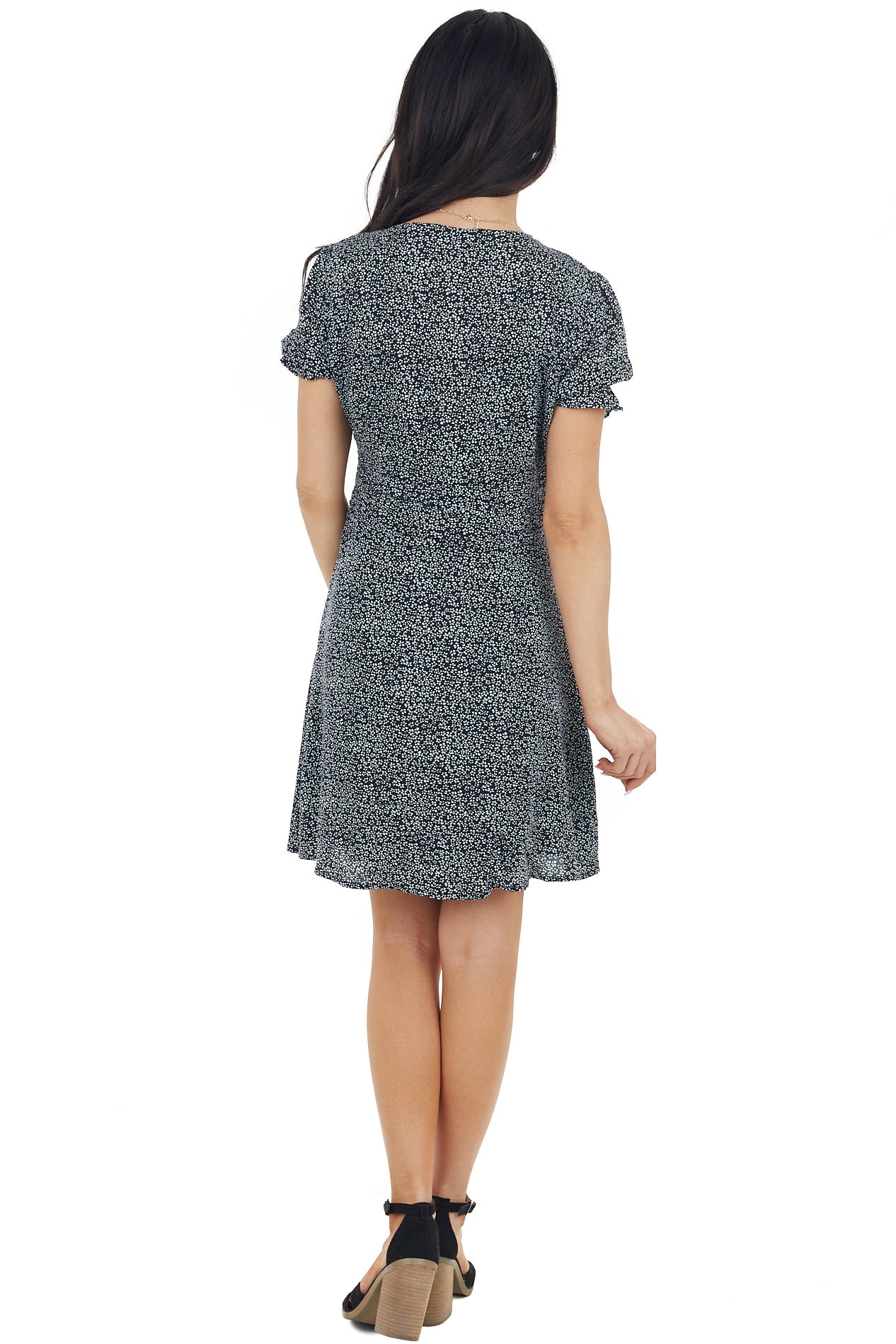 Black Floral Print Mini Woven Dress with Button Detail