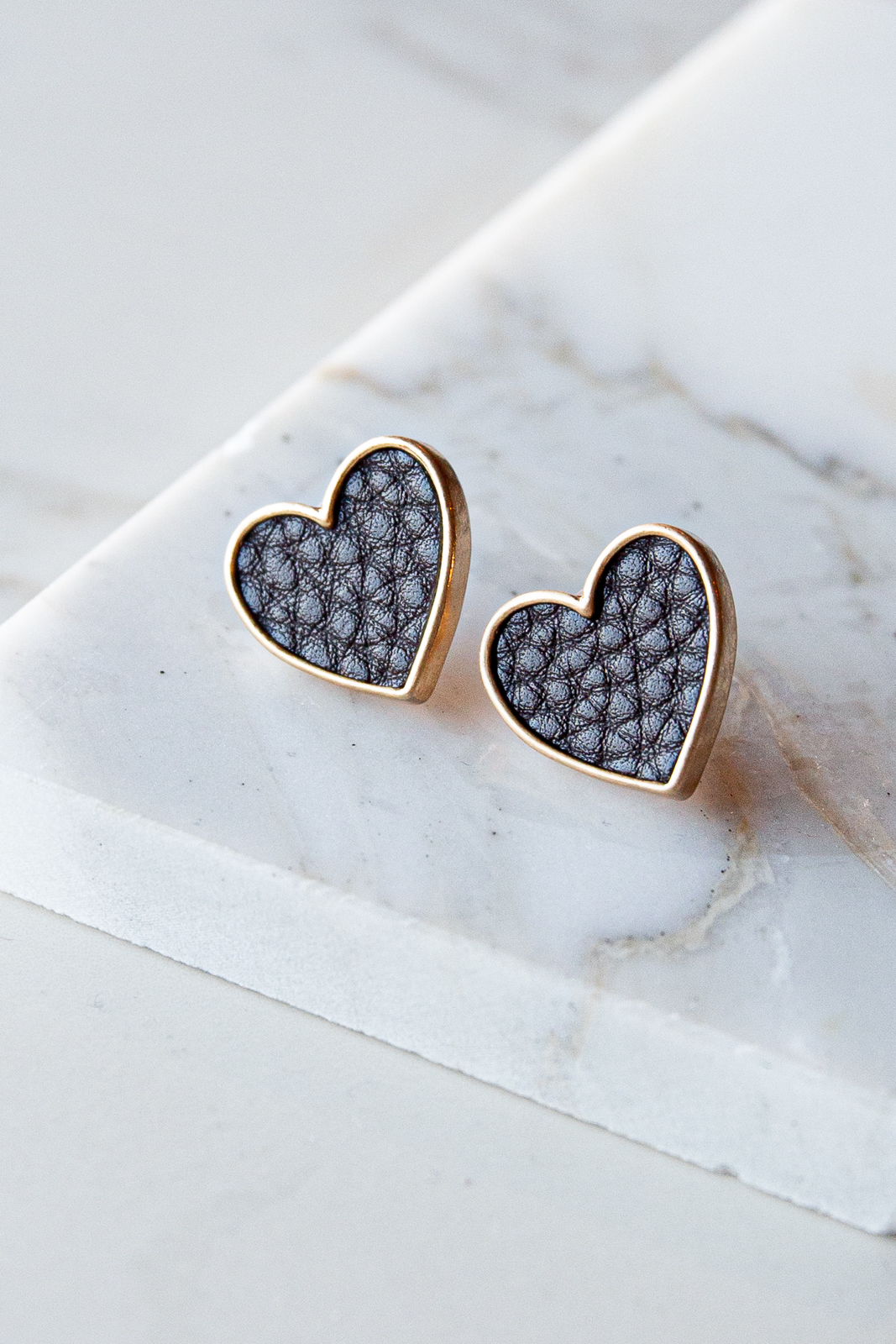 Gold Heart Stud Earrings with Black Faux Leather Detail