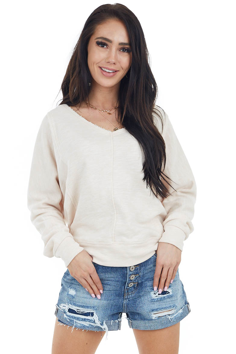 Oatmeal Two Tone Long Sleeve Knit Top with Raw Details