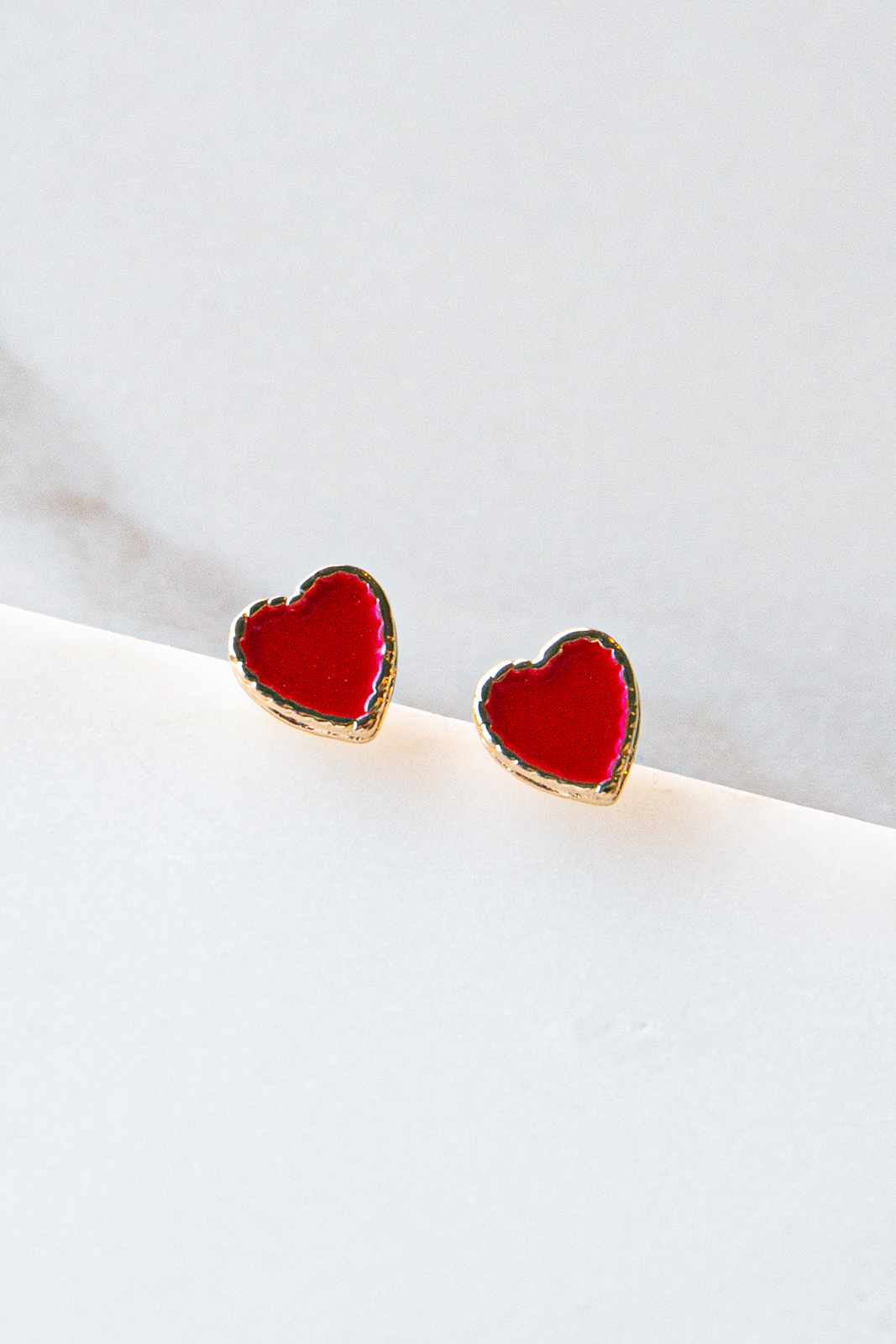 Tiny Gold Heart Shaped Stud Earrings with Cherry Red Enamel