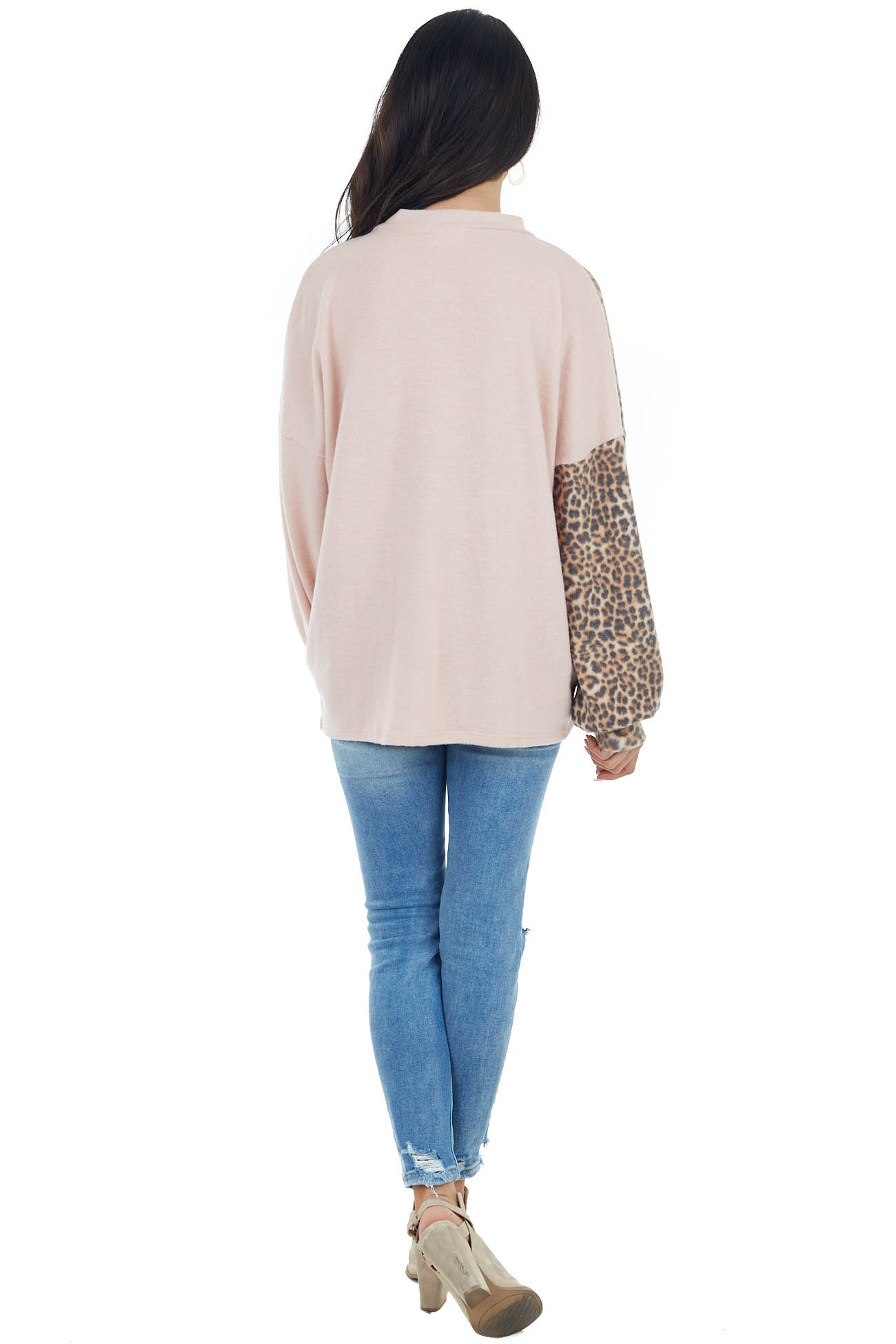 Blush and Leopard Print Surplice Top with Mock Neck Detail