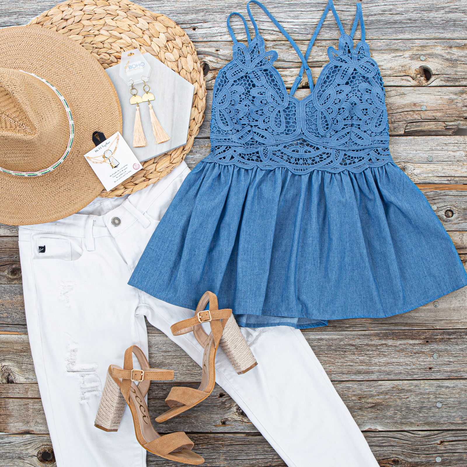 Dusty Blue Chambray Tank Top Blouse with Crochet Lace Detail